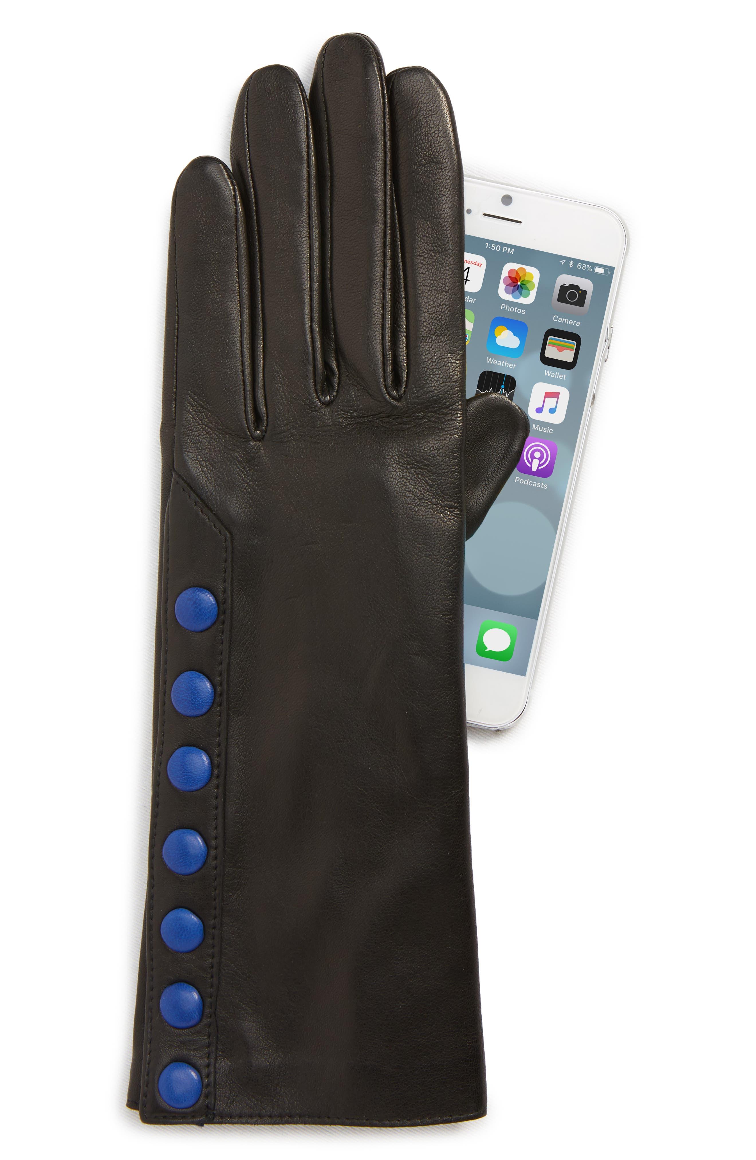 Color Pop Button Lambskin Leather Gloves,                             Alternate thumbnail 2, color,                             001
