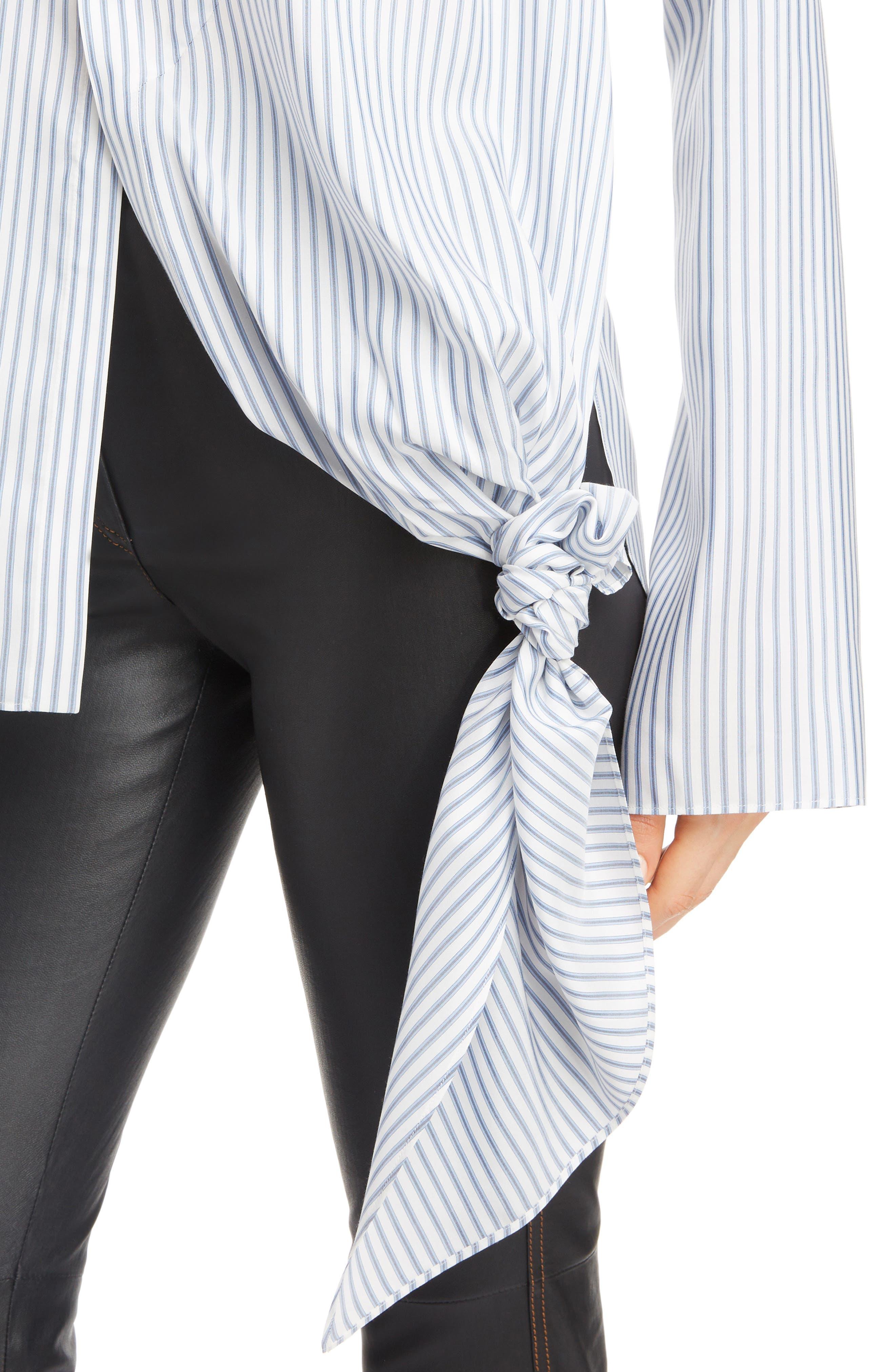 Stripe Tie Hem Silk Shirt,                             Alternate thumbnail 4, color,                             BLUE/ WHITE