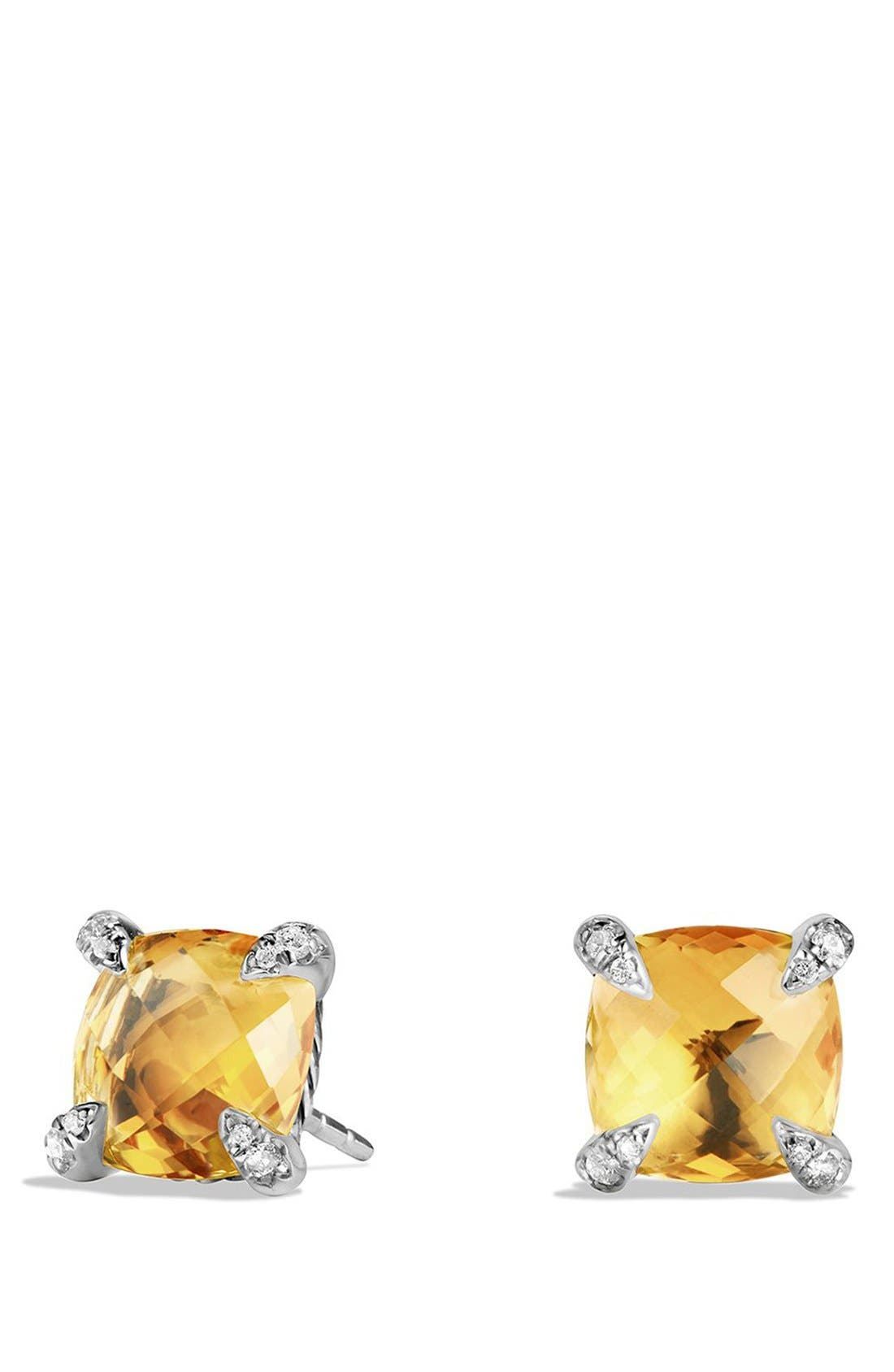 'Châtelaine' Earrings with Semiprecious Stones and Diamonds,                             Main thumbnail 1, color,                             SILVER/ CITRINE