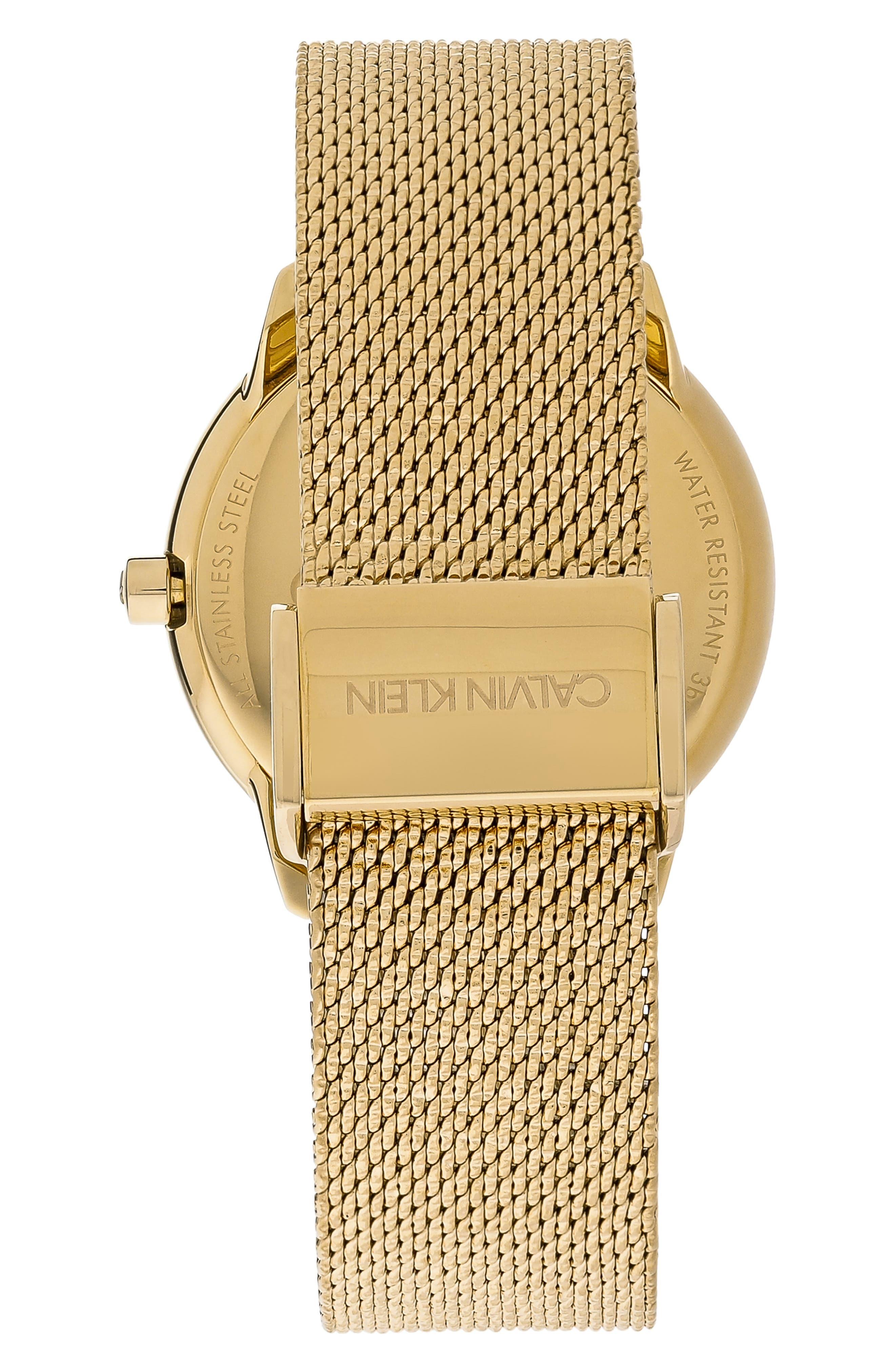 Minimal Mesh Strap Watch, 35mm,                             Alternate thumbnail 2, color,                             GOLD/ SILVER