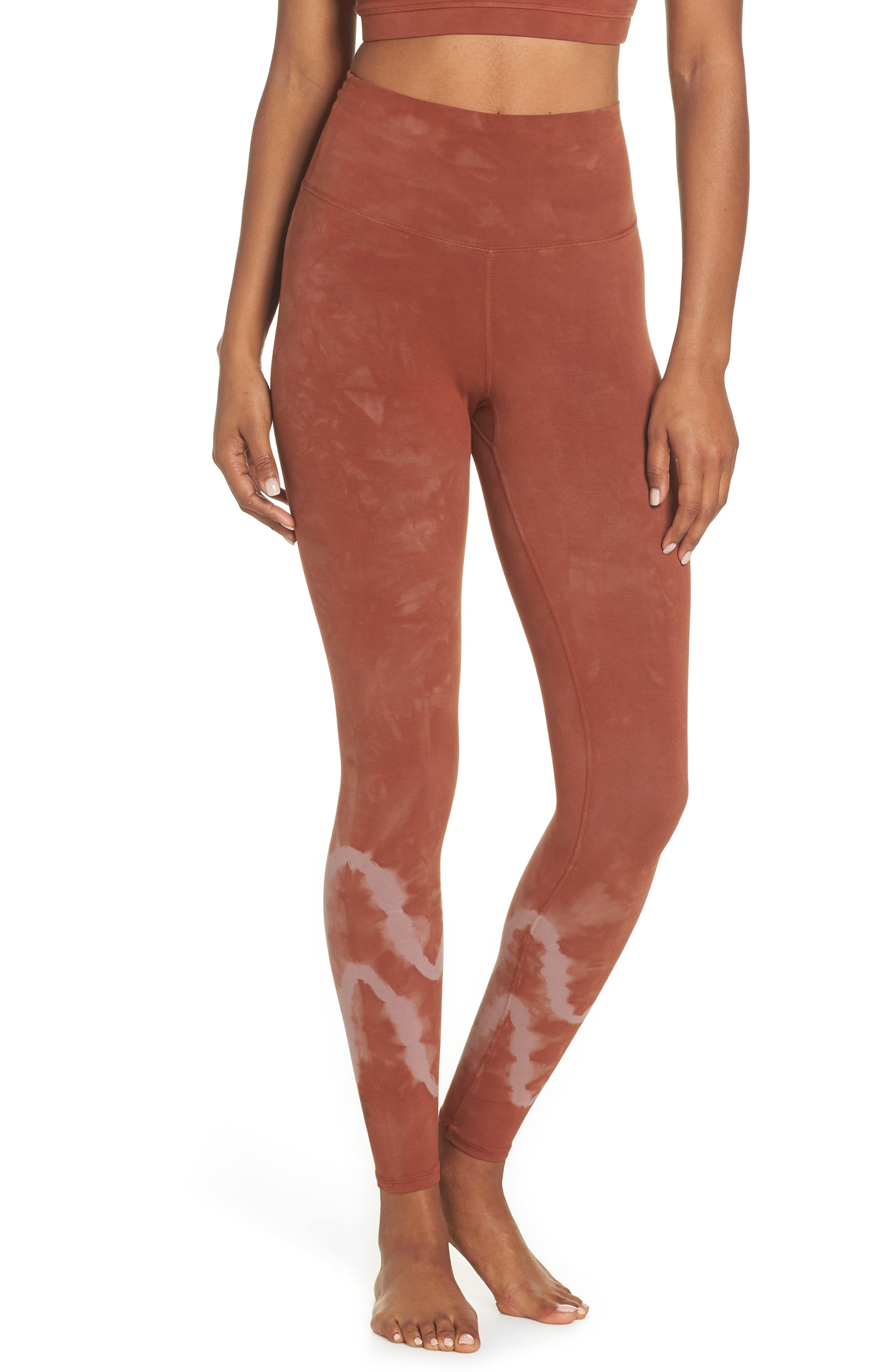 ELECTRIC & ROSE Sunset Tie Dye Leggings in Chevron Wash Fox / Mauve