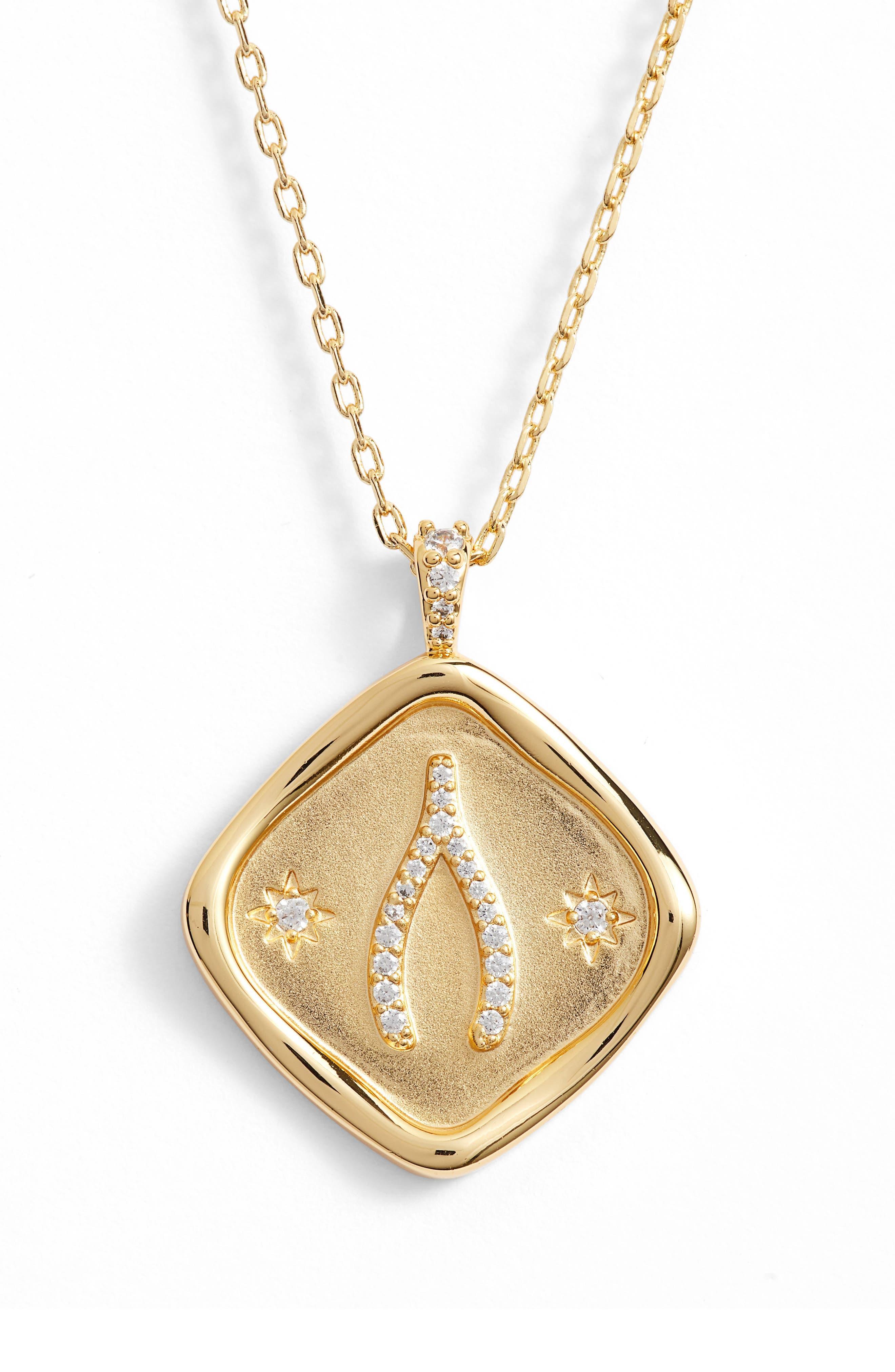 LULU DK X Kristina Schulman Luck Crystal Pendant Necklace in Gold