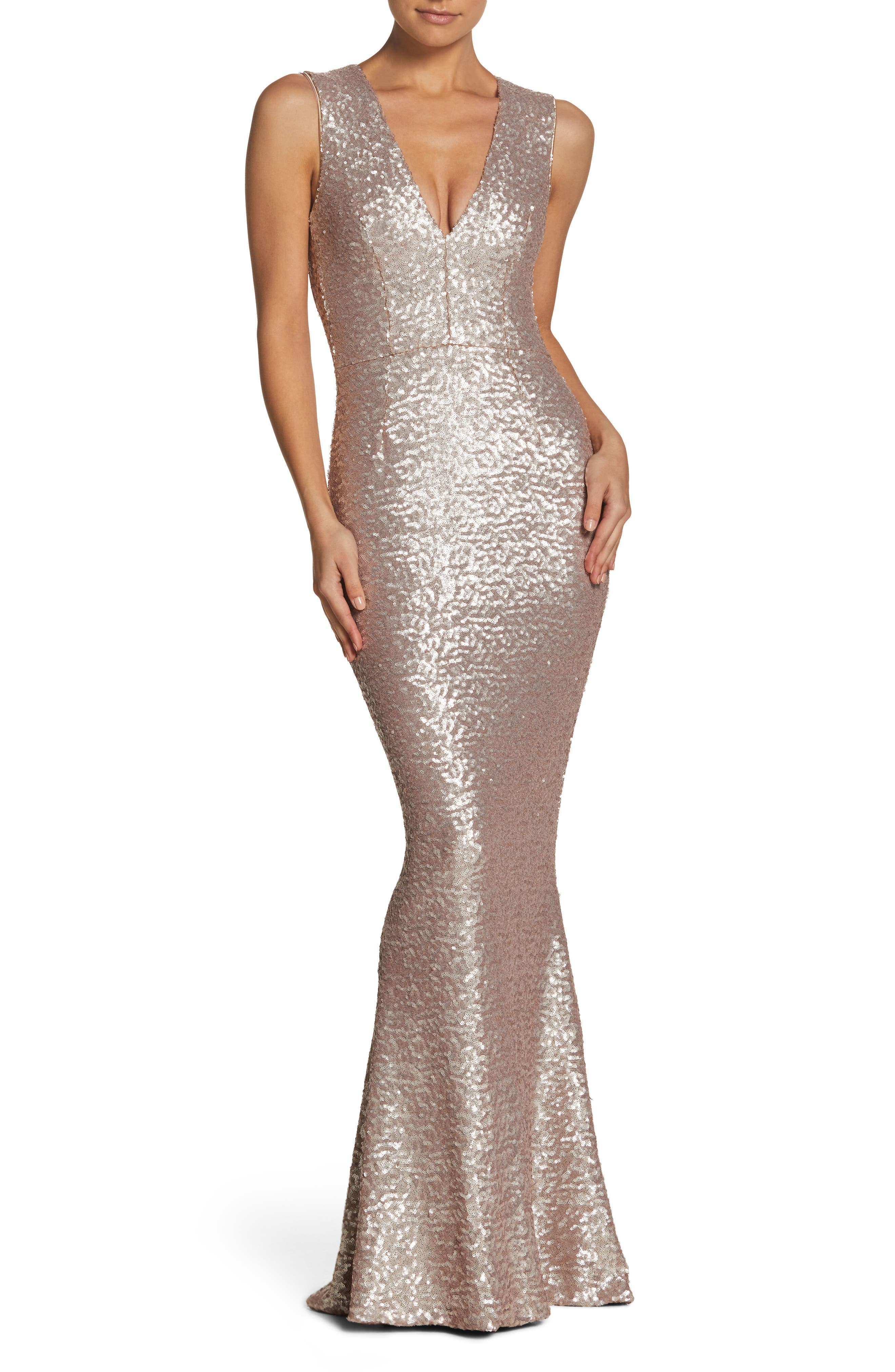 Karina Plunge Mermaid Gown,                         Main,                         color, ICE PINK
