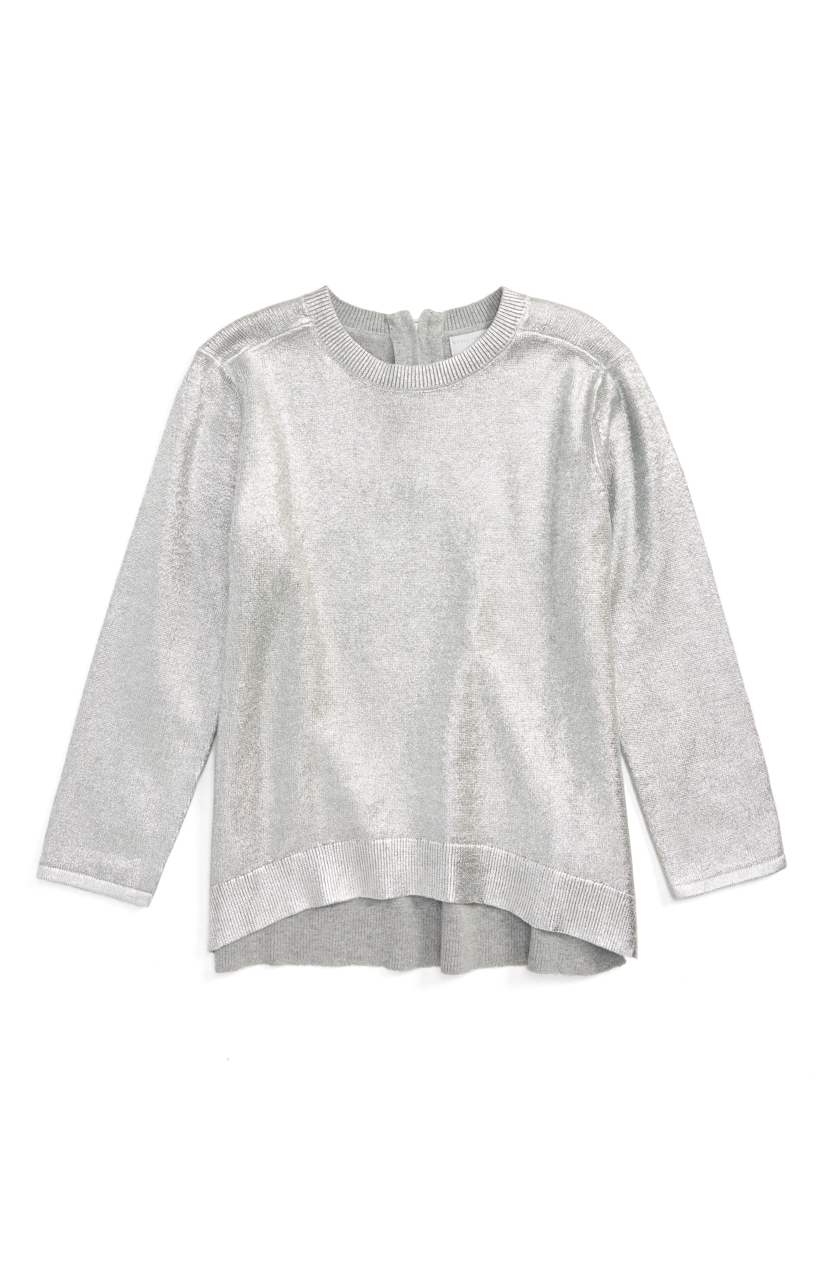 Kids Jewel Foil Sweater,                             Main thumbnail 1, color,