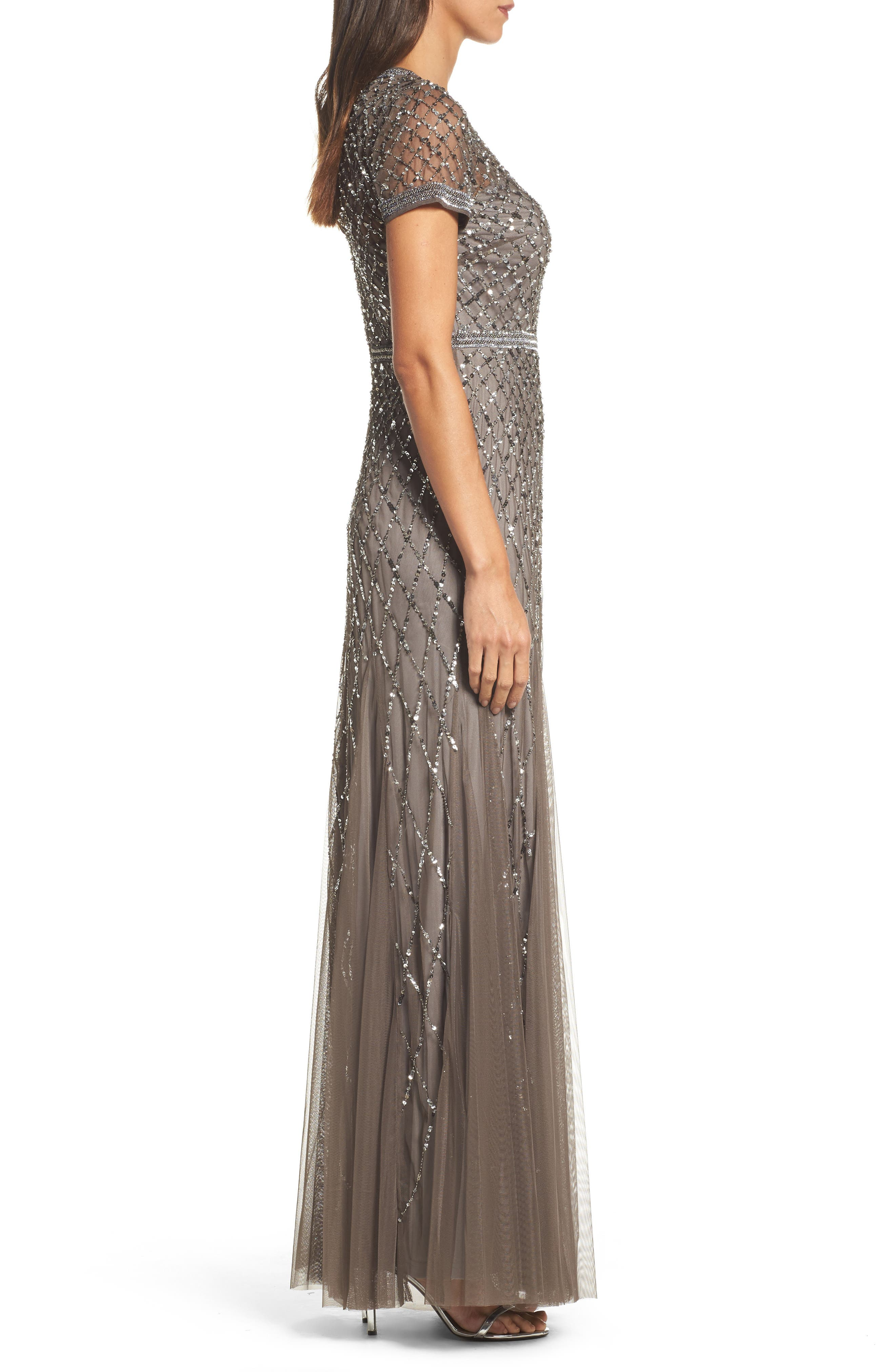 Beaded Mesh Gown,                             Alternate thumbnail 3, color,                             020