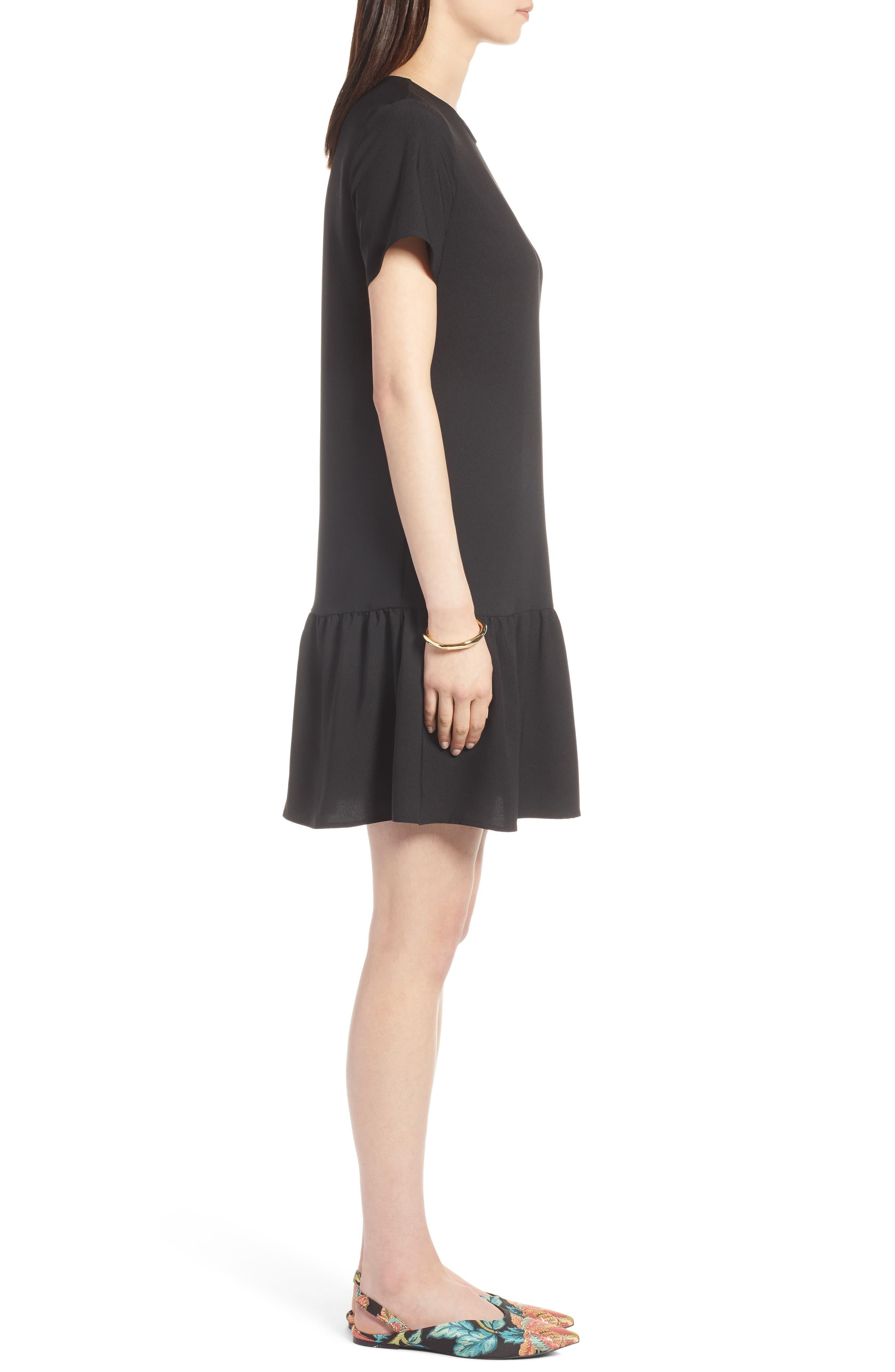 Short Sleeve Ruffle Hem Dress,                             Alternate thumbnail 3, color,                             001
