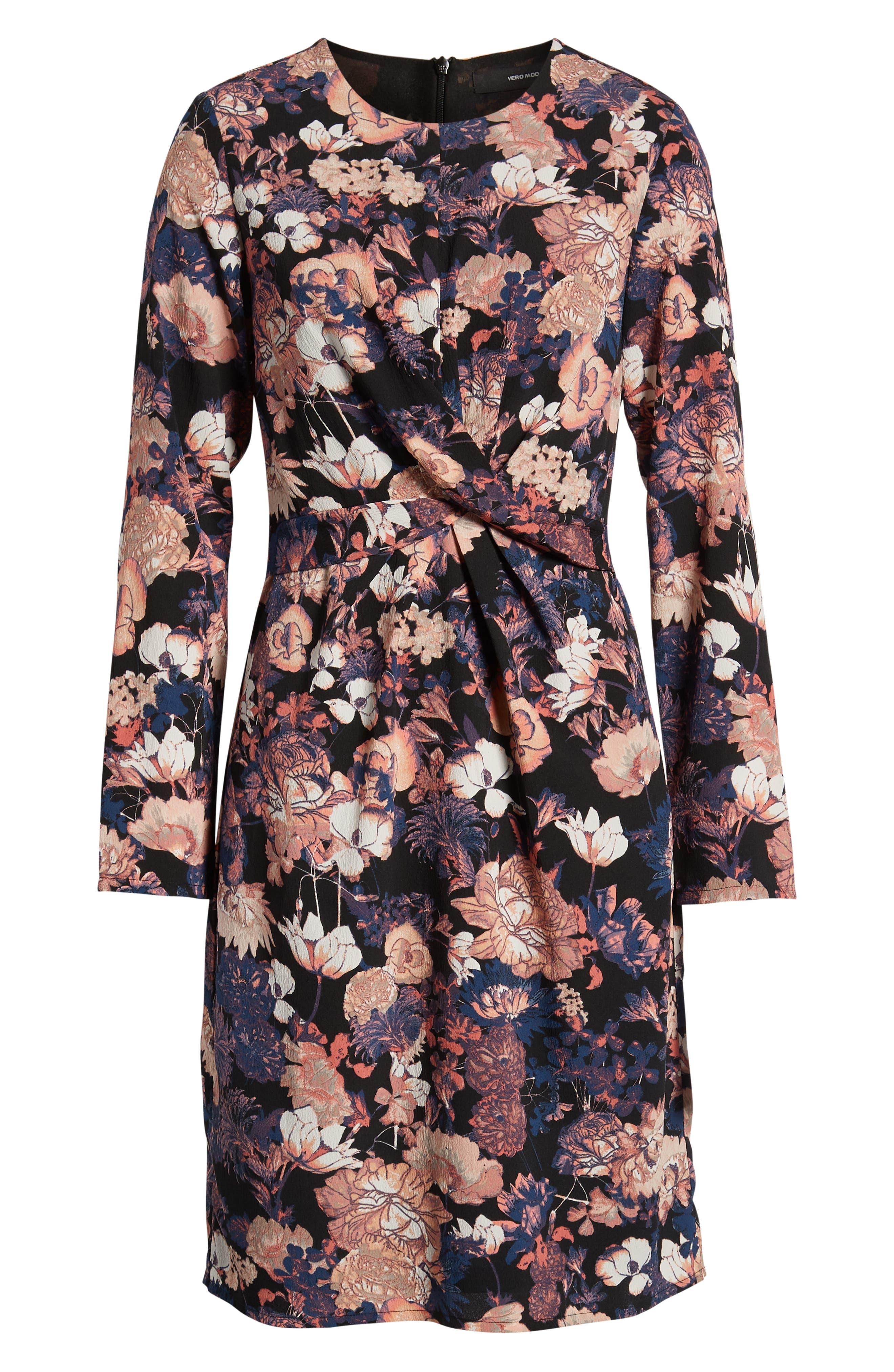 VERO MODA,                             Marlene Floral Drape Dress,                             Alternate thumbnail 7, color,                             BLACK PRINT