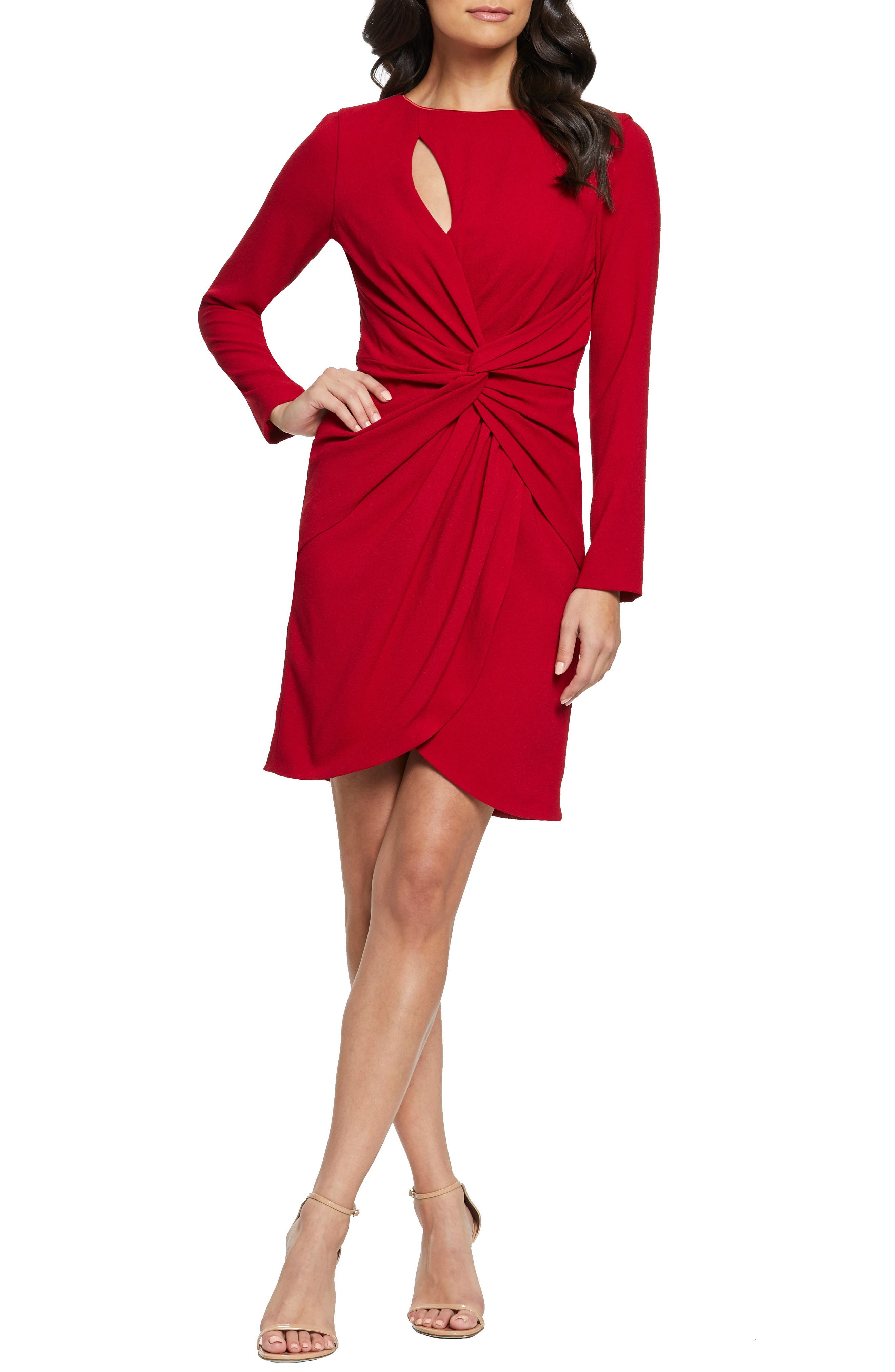 Dress The Population Coby Twisted Faux Wrap Cocktail Dress, Red