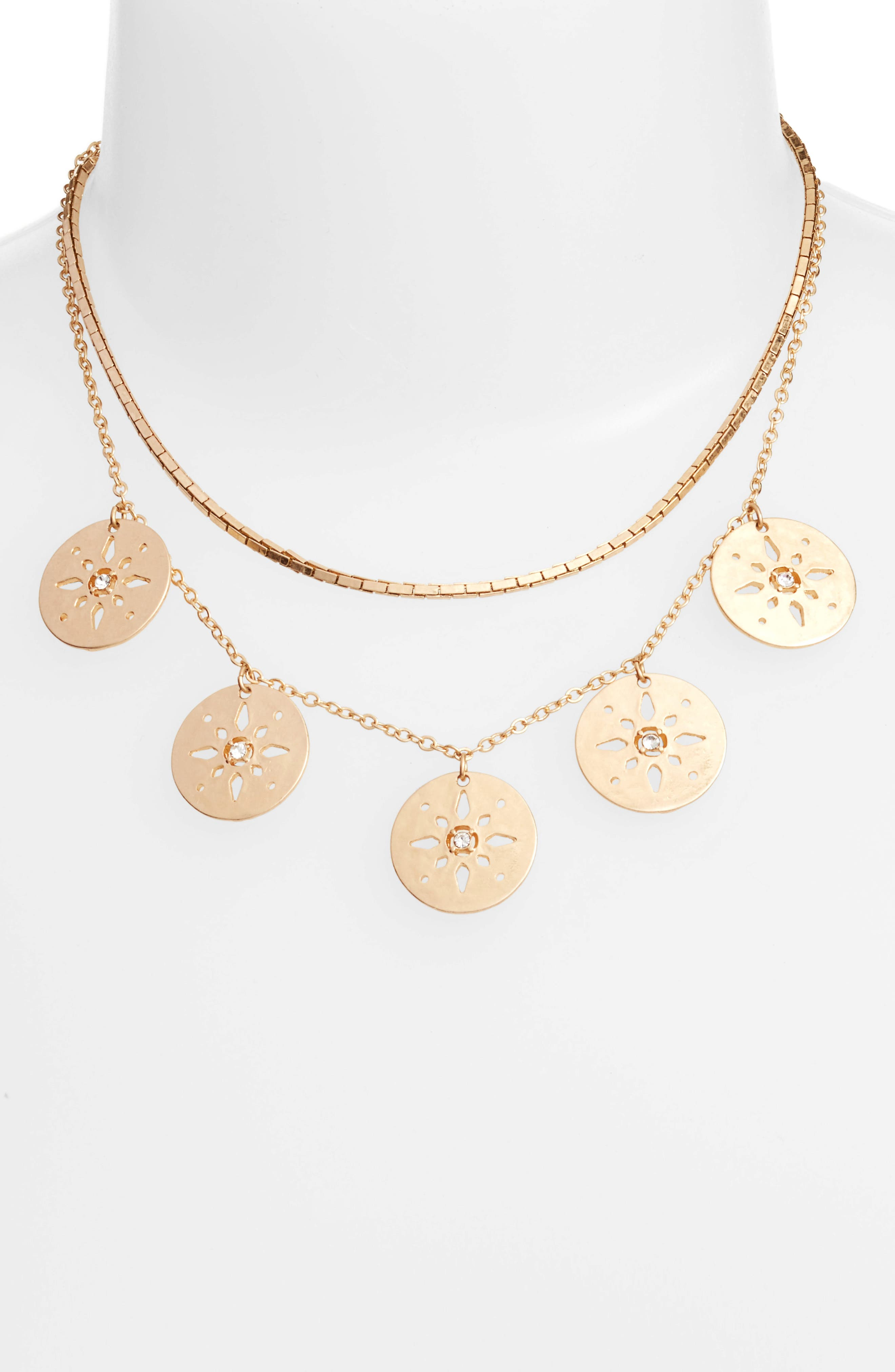 Pierced Disc Frontal Necklace,                             Alternate thumbnail 2, color,                             710