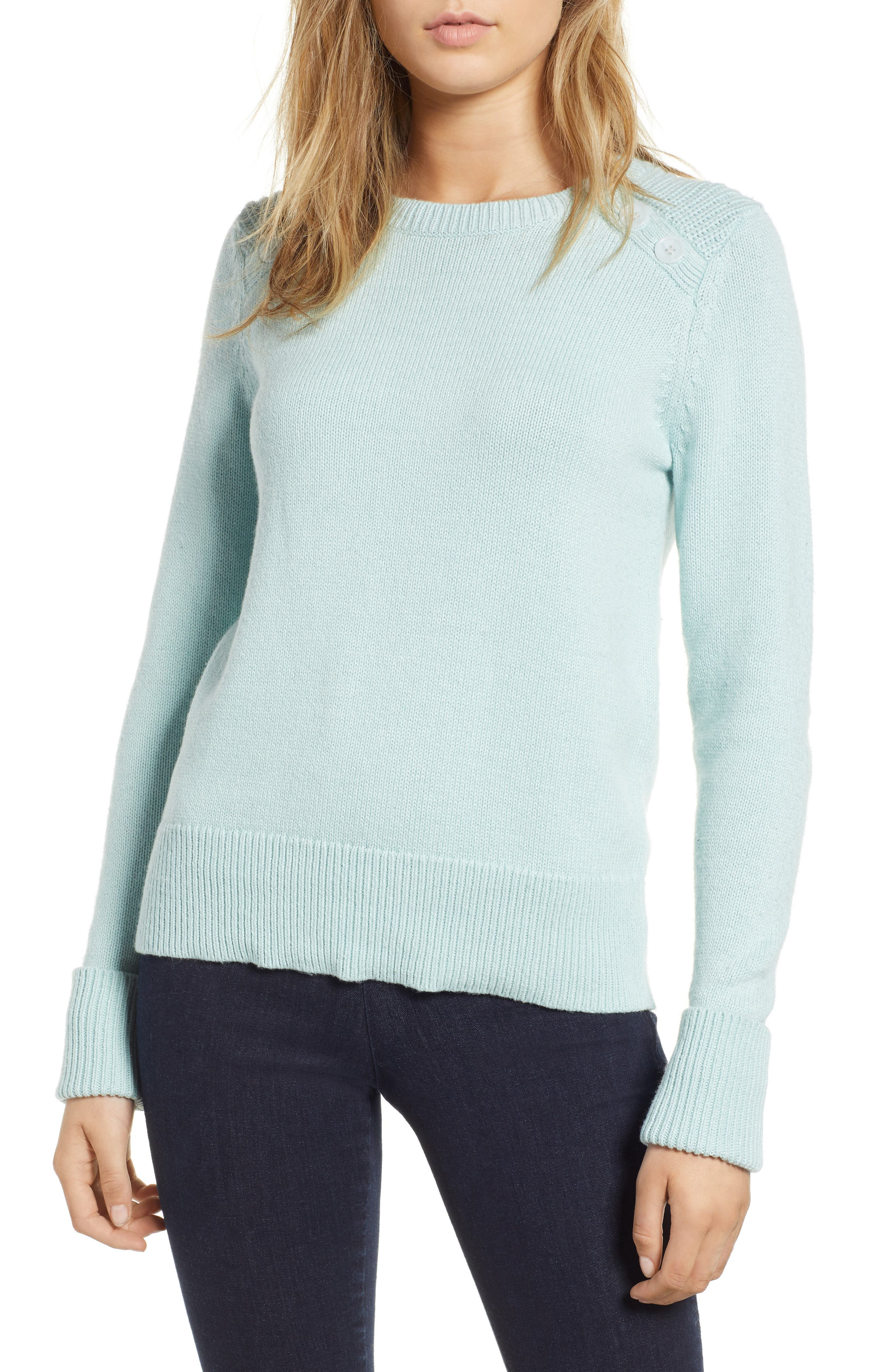 Button Detail Cotton Wool Blend Sweater by 1901