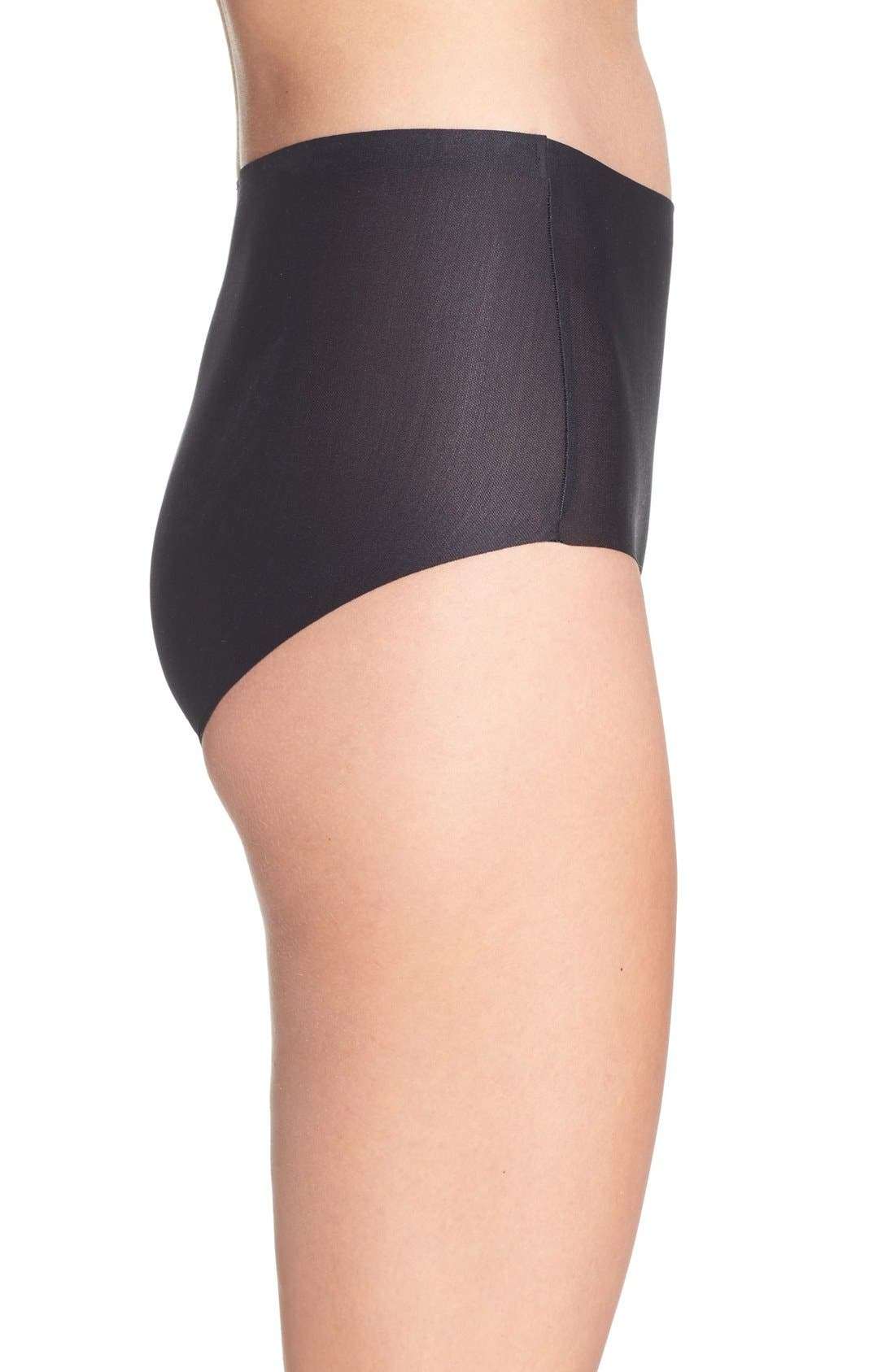 High Waist Smoothing Briefs,                             Alternate thumbnail 4, color,                             BLACK