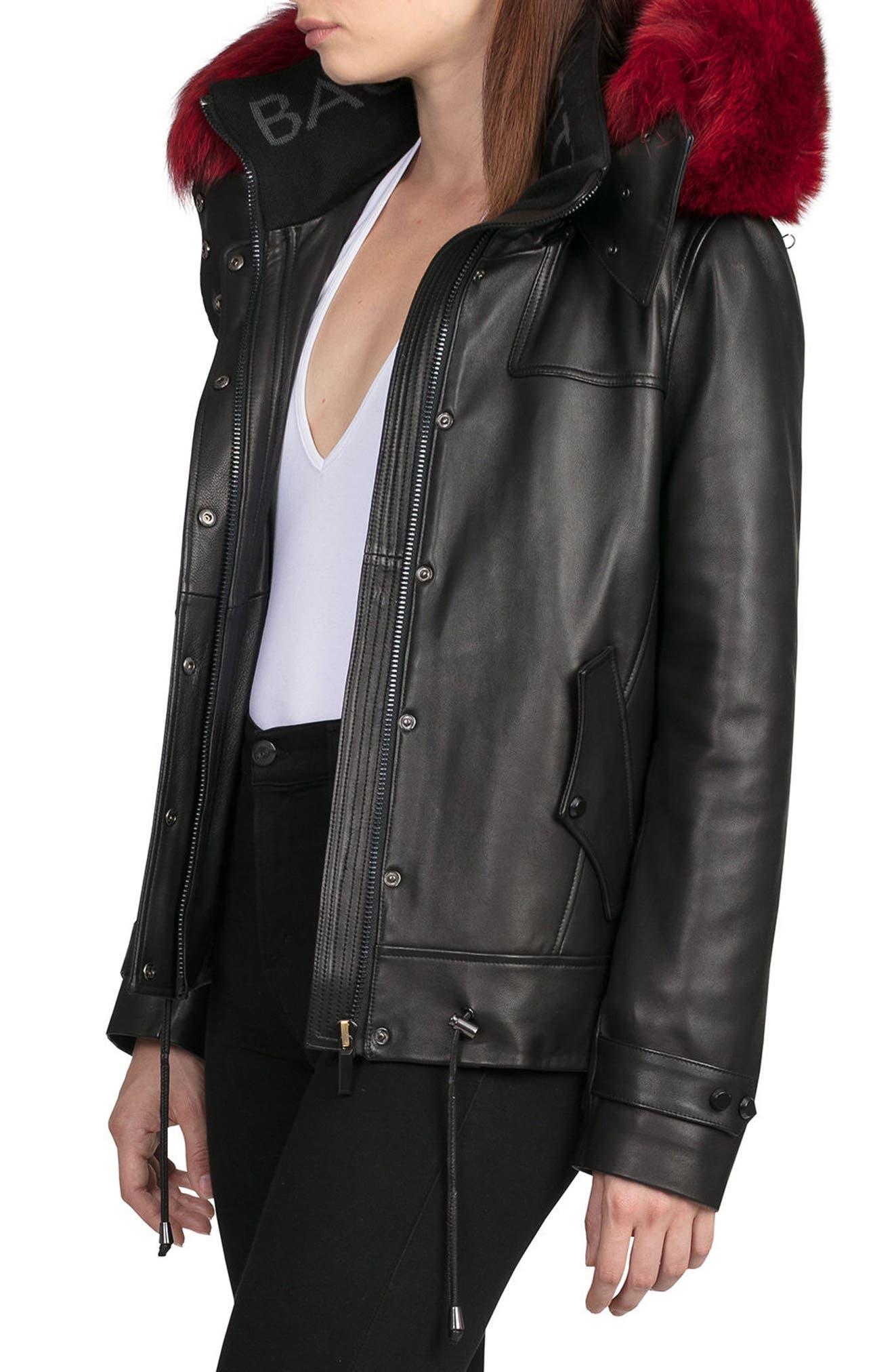 BAGATELLE.CITY The Aspen Leather Jacket with Genuine Fox Fur Trim,                             Alternate thumbnail 3, color,                             001