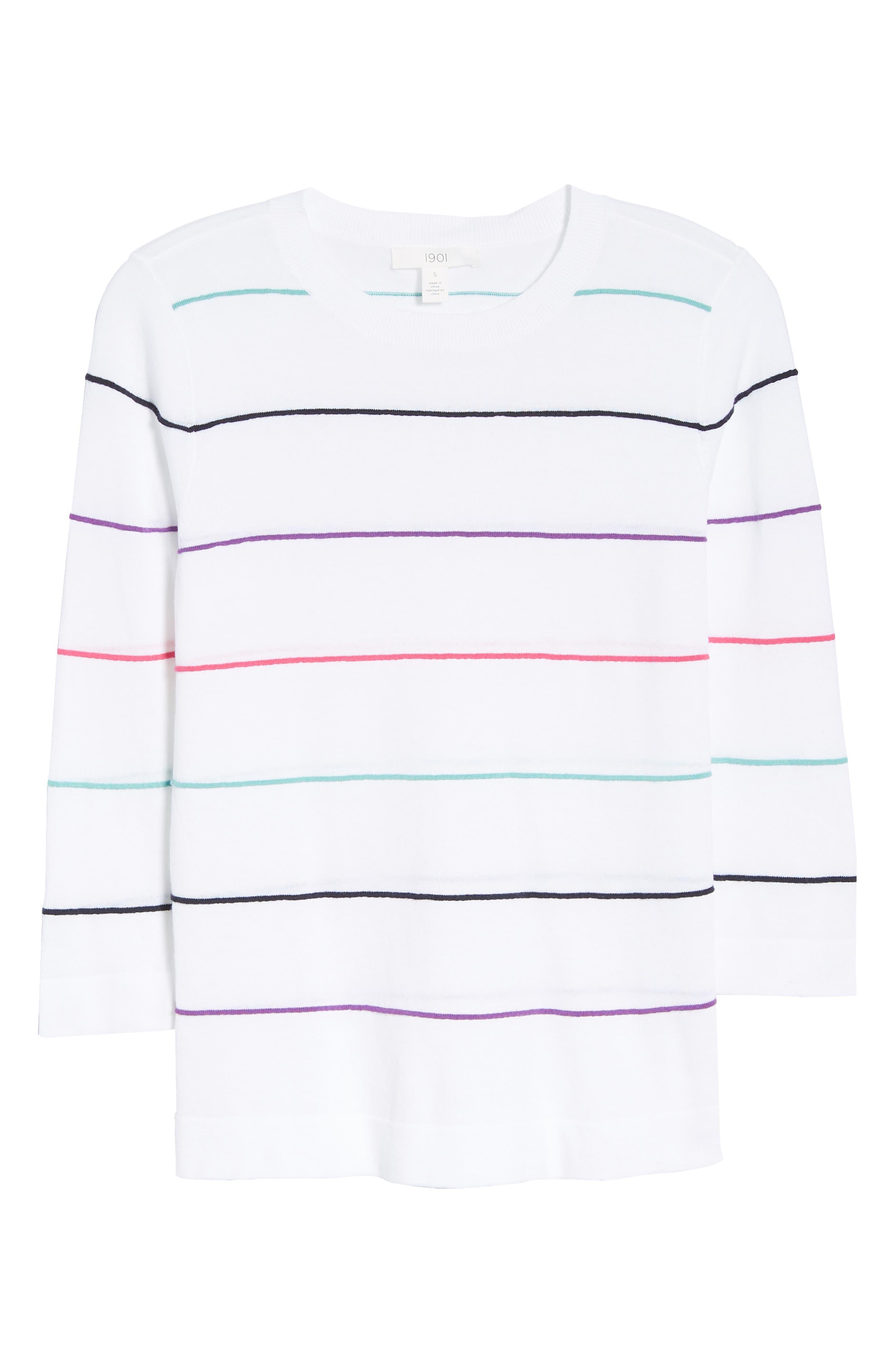 Stripe Cotton Sweater,                             Alternate thumbnail 6, color,                             100
