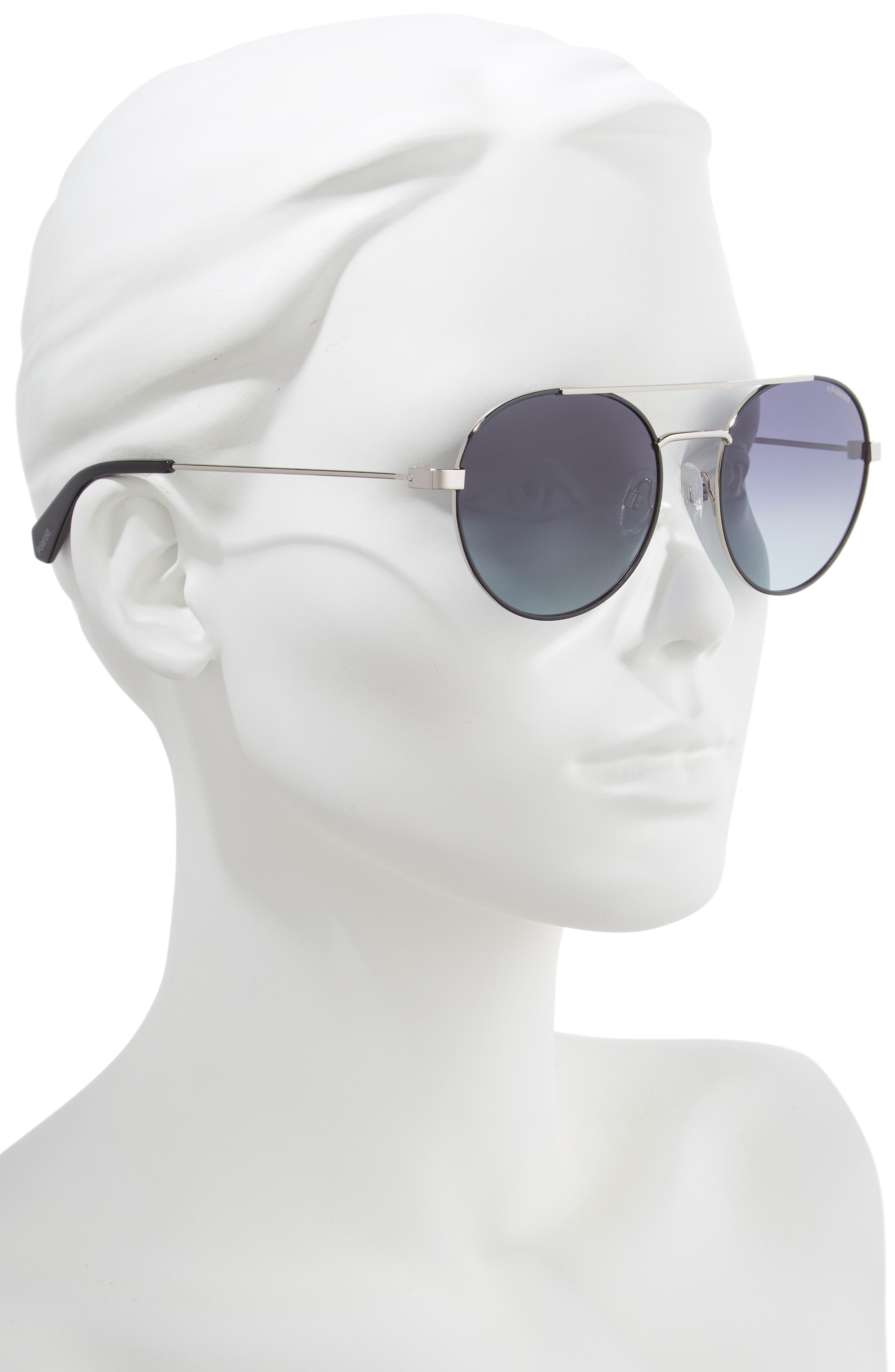 POLAROID EYEWEAR,                             Polaroid 55mm Polarized Round Aviator Sunglasses,                             Alternate thumbnail 2, color,                             BLACK RUTHENIUM