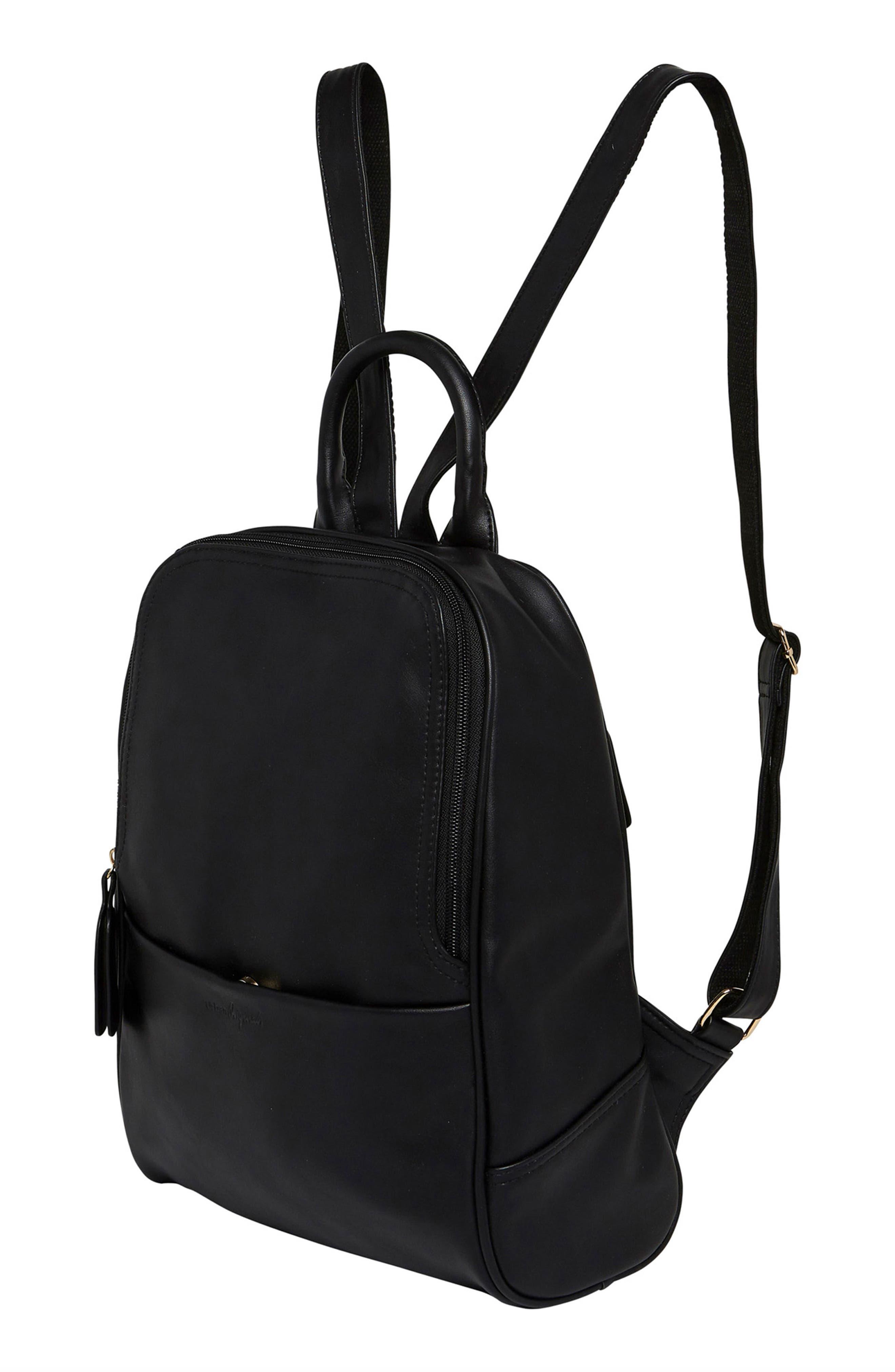 Evolution Vegan Leather Backpack,                             Alternate thumbnail 4, color,                             BLACK