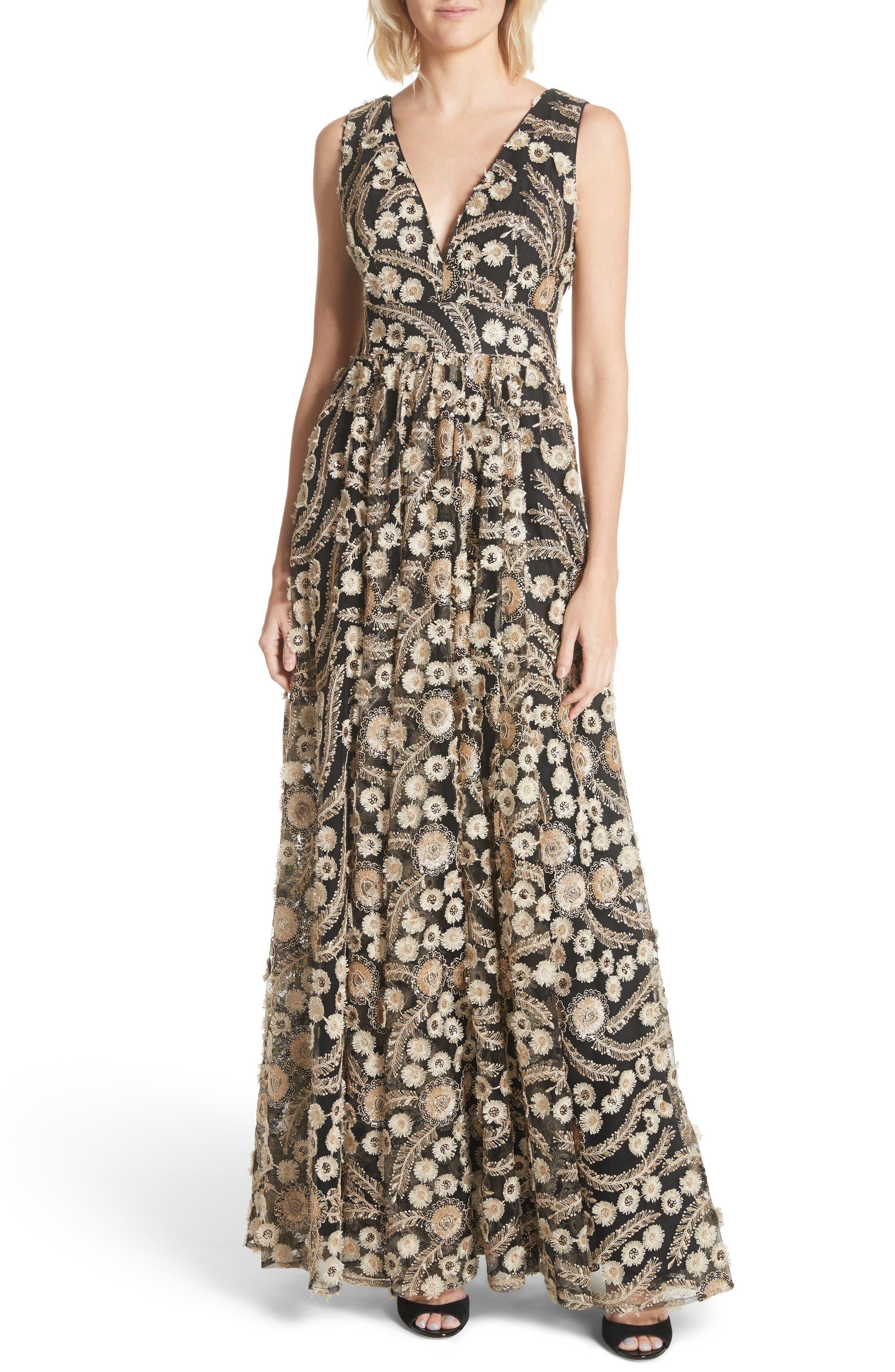 Embellished A-Line Maxi Dress,                             Main thumbnail 1, color,                             001