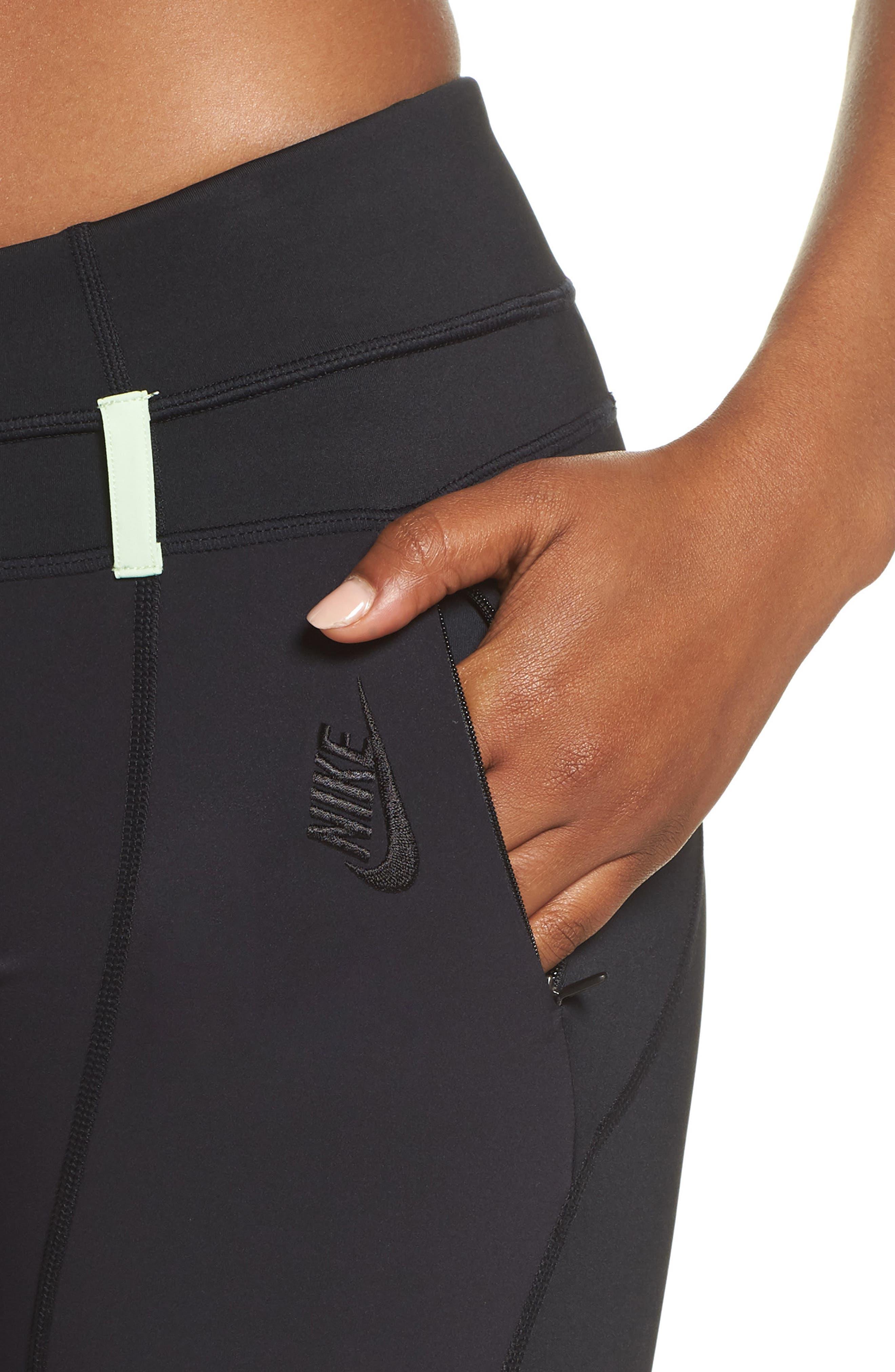 NRG Women's Dri-FIT Tights,                             Alternate thumbnail 4, color,                             BLACK/ VAPOR GREEN/ BLACK