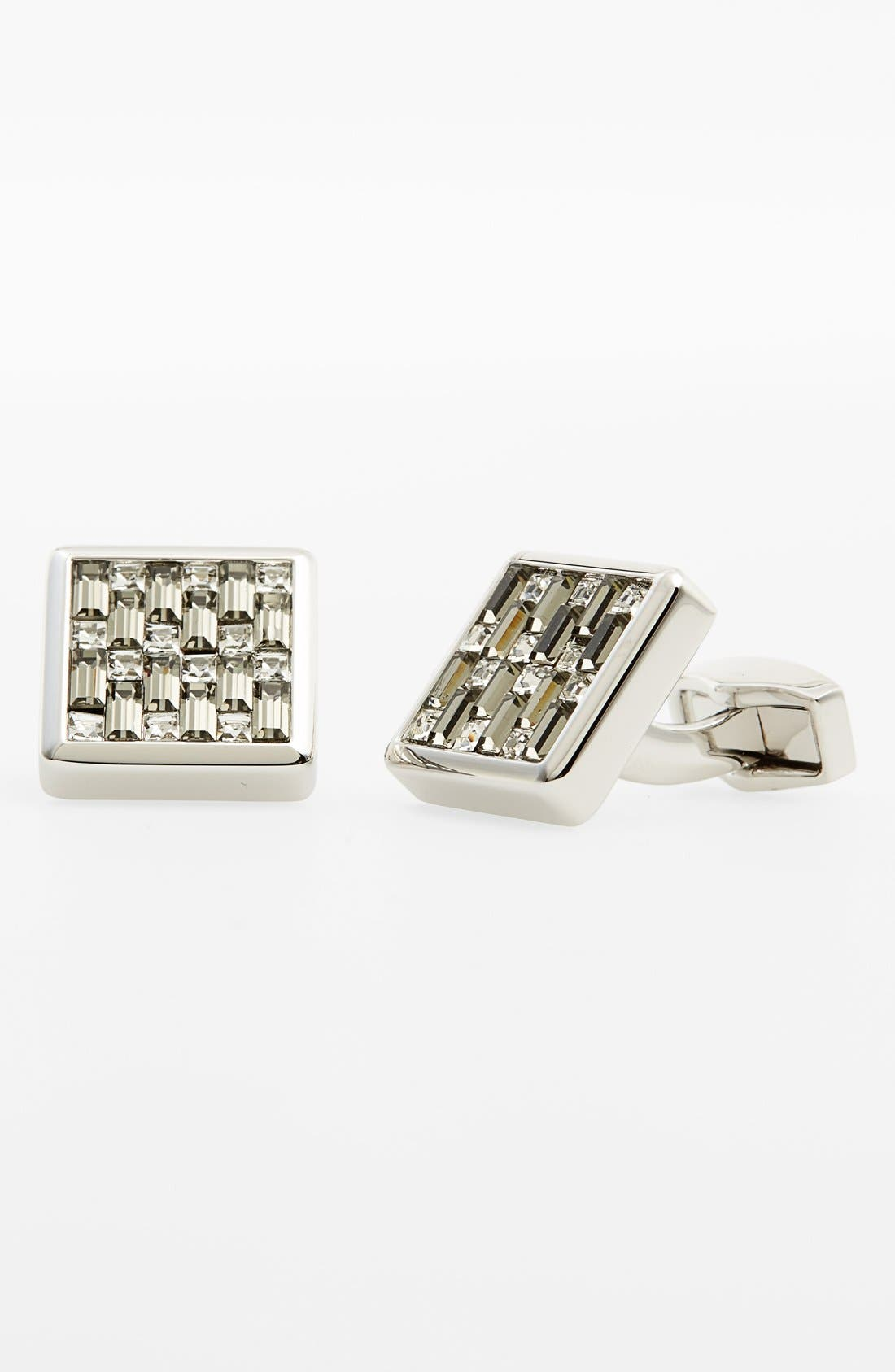 Swarovski Square Cuff Links,                         Main,                         color, BLACK