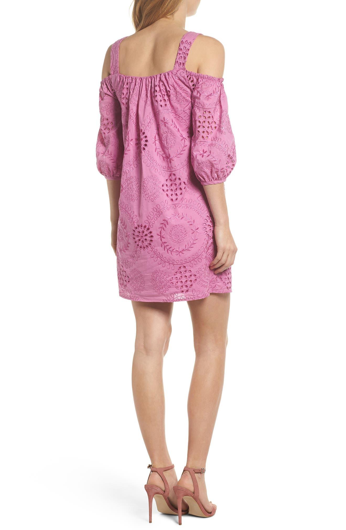 Tonnie Cold Shoulder Eyelet Dress,                             Alternate thumbnail 2, color,                             513