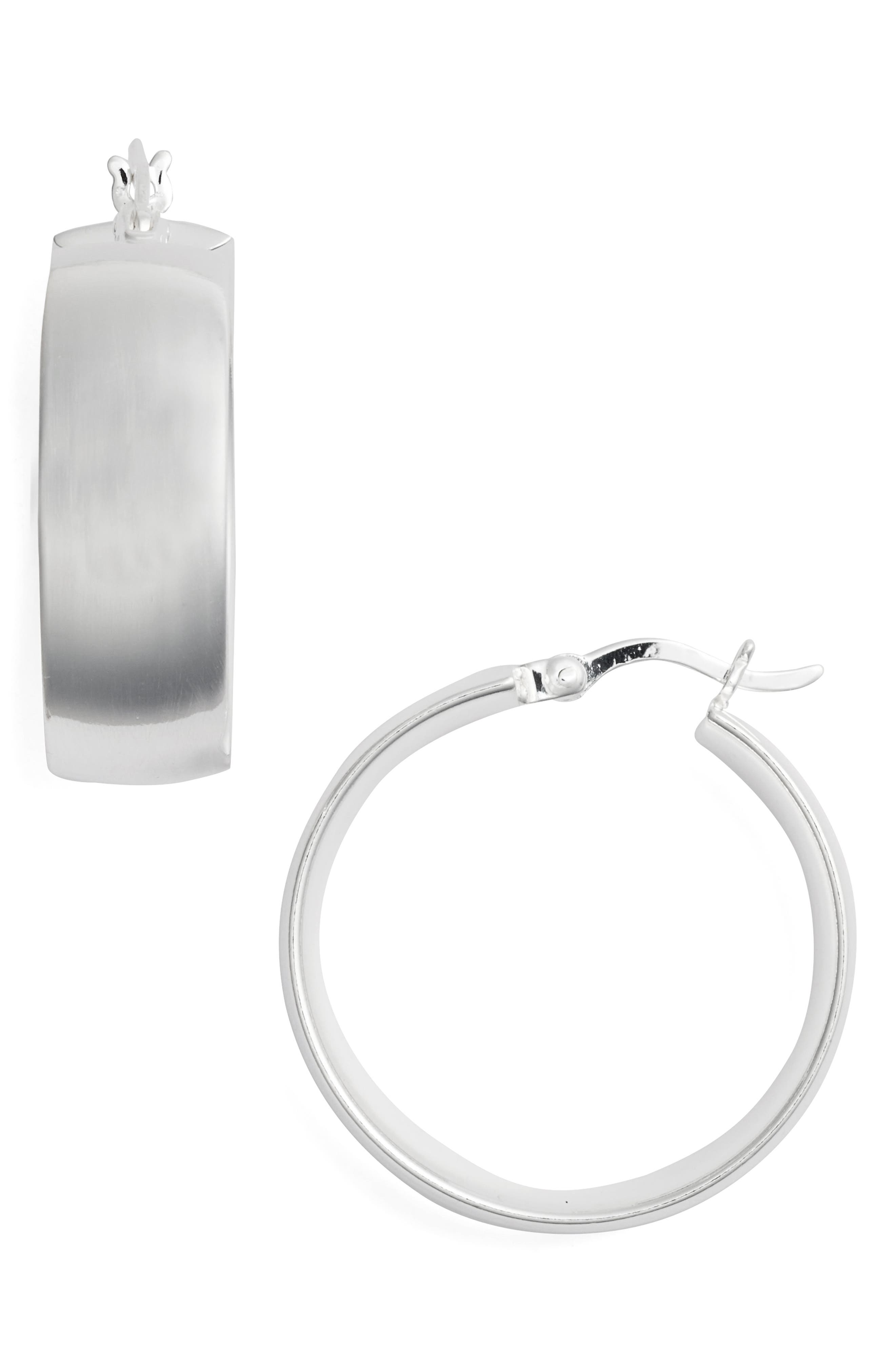 Flat Edge Hoop Earrings,                         Main,                         color, SILVER