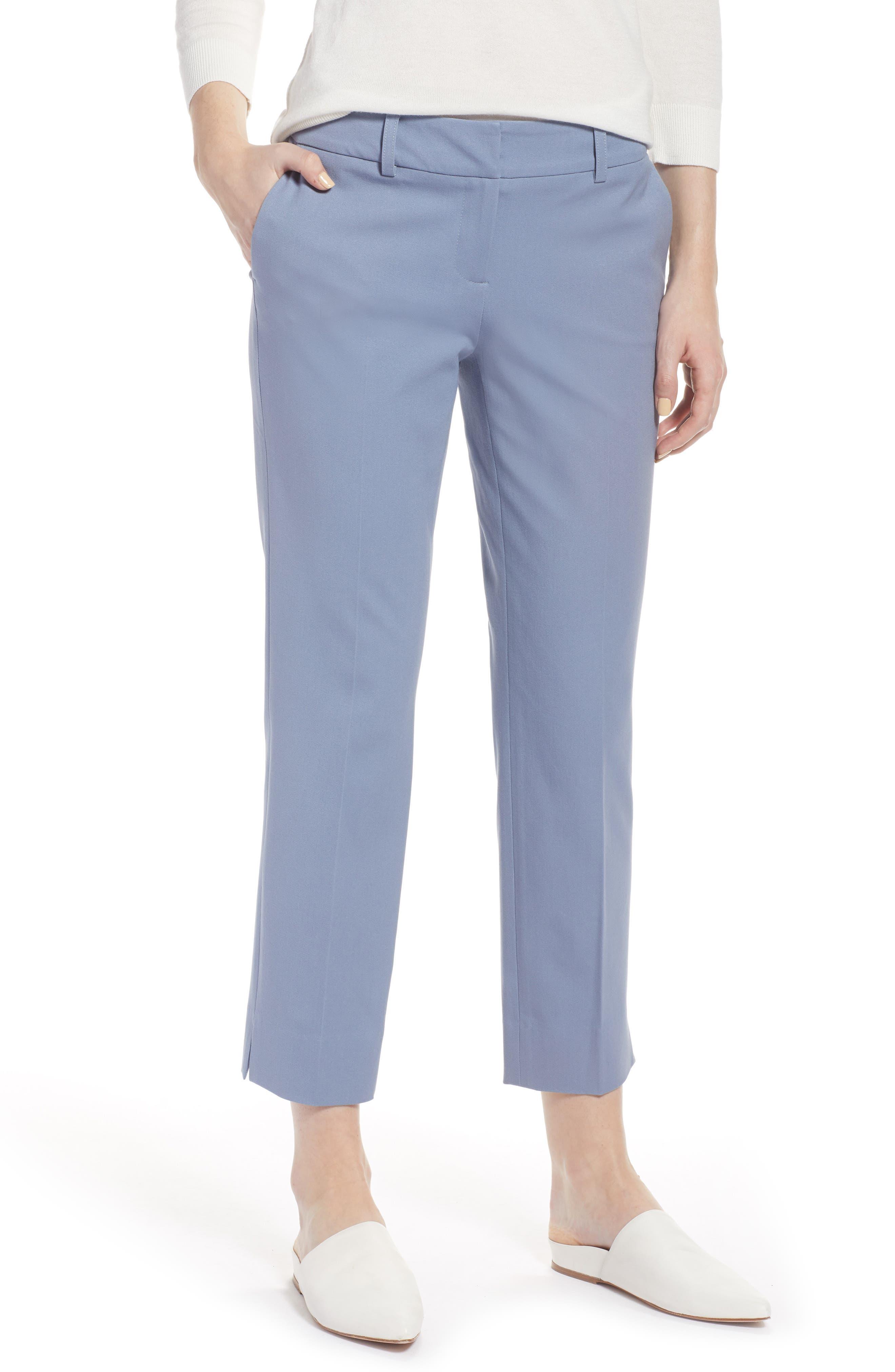 Crop Stretch Cotton Pants,                             Main thumbnail 2, color,