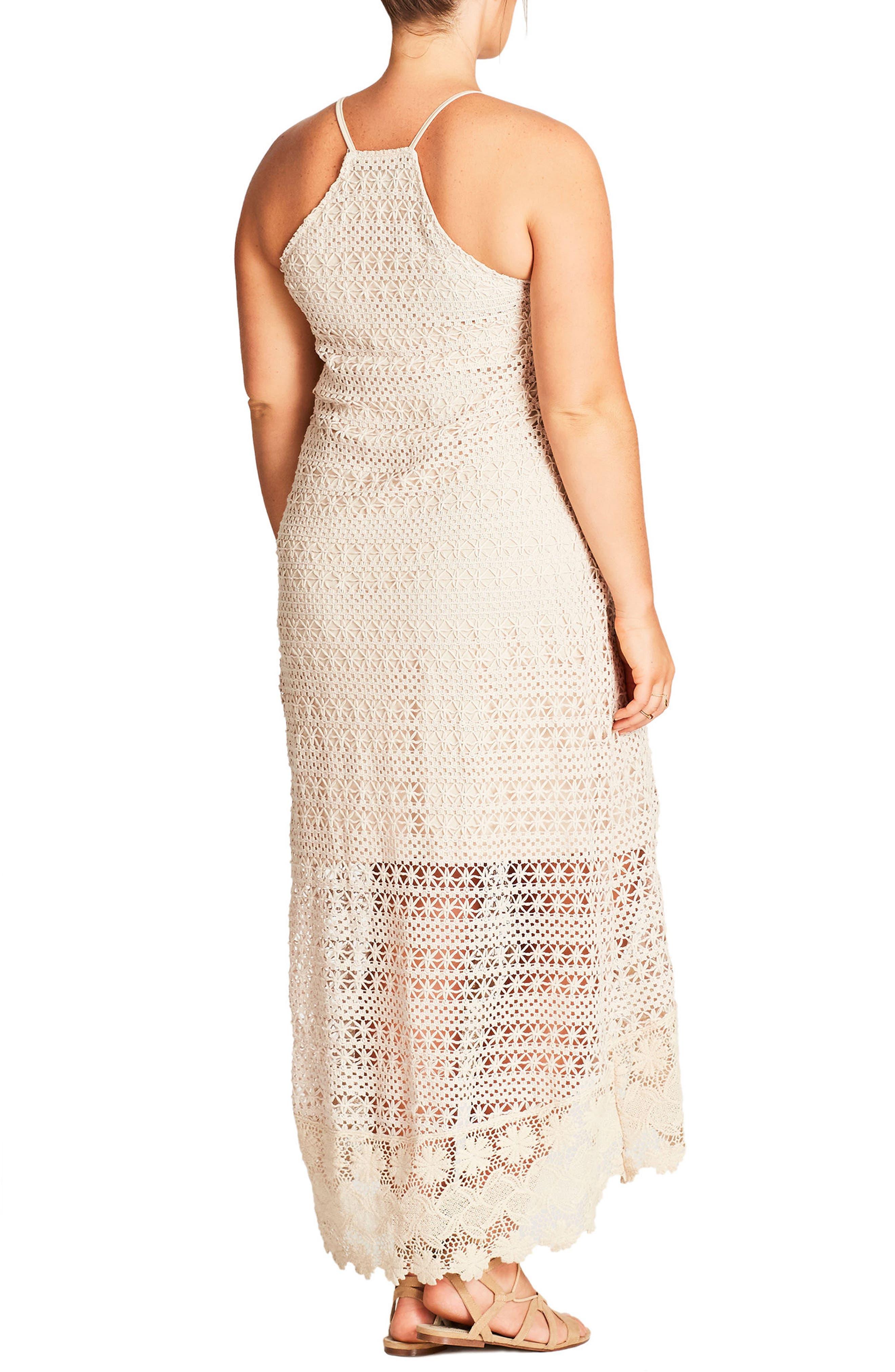 Crochet Maxi Dress,                             Alternate thumbnail 4, color,
