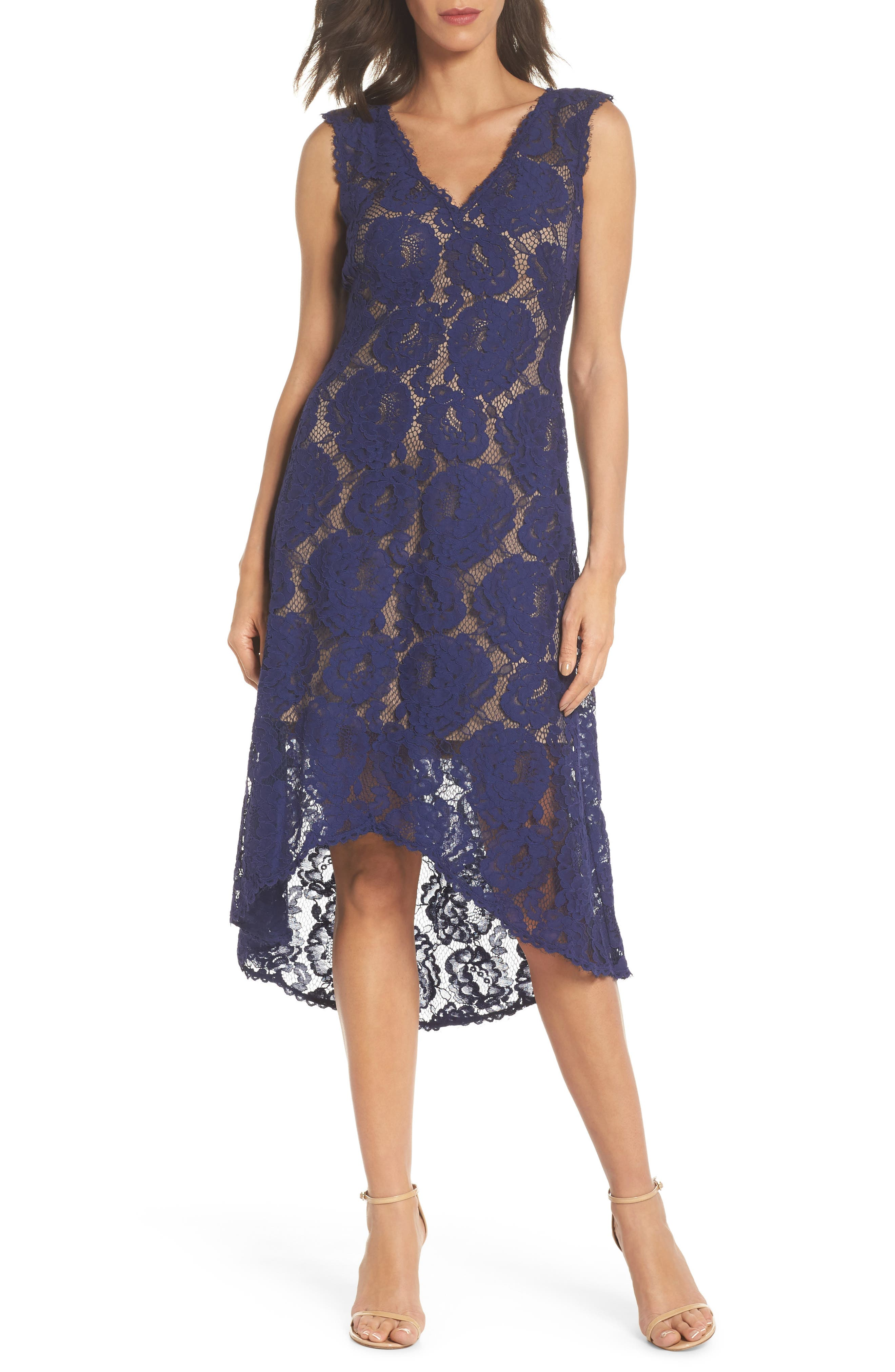 TADASHI SHOJI High/Low Lace Dress, Main, color, 420