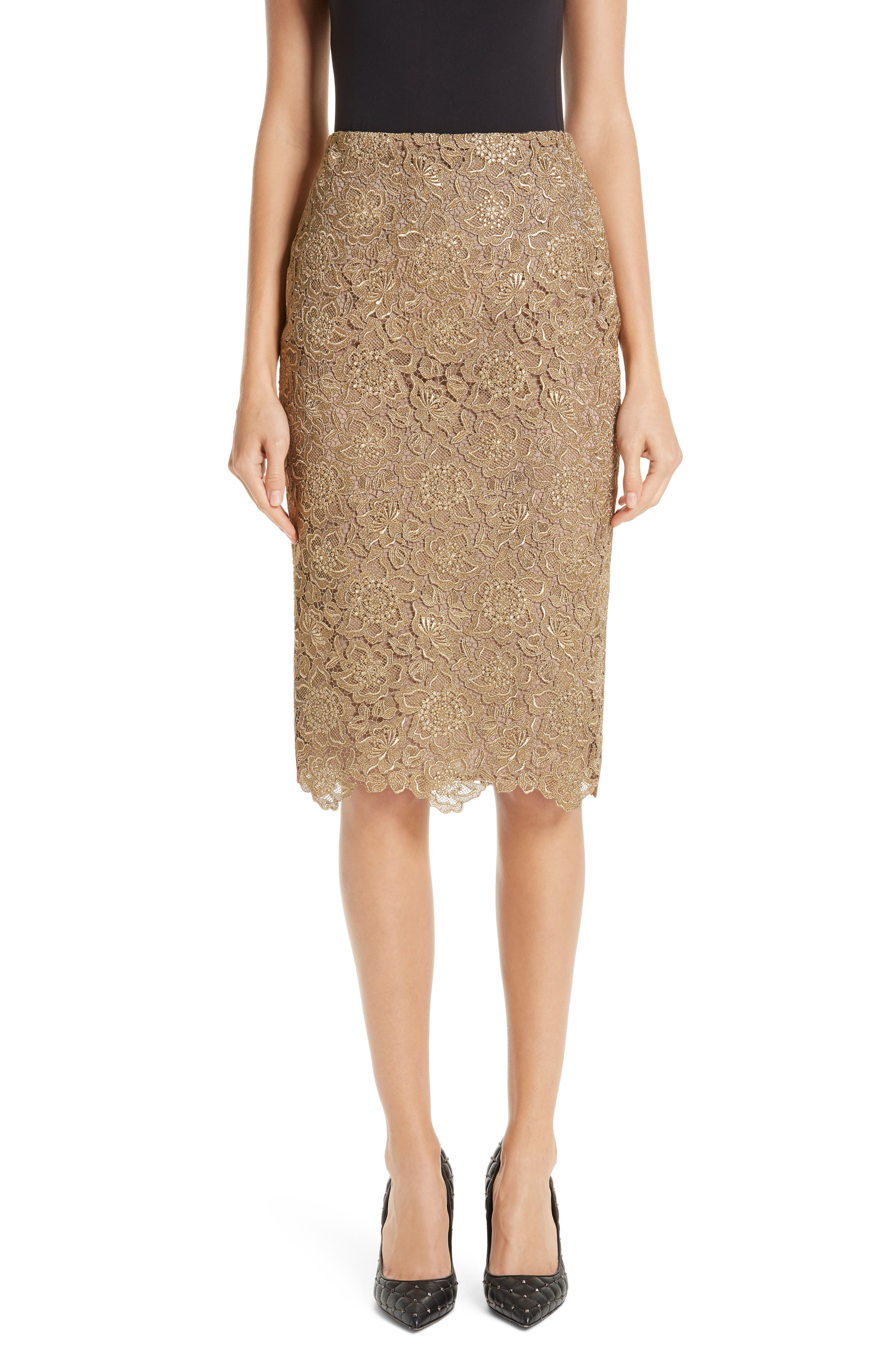 Anemone Guipure Lace Pencil Skirt,                             Main thumbnail 1, color,                             GOLD