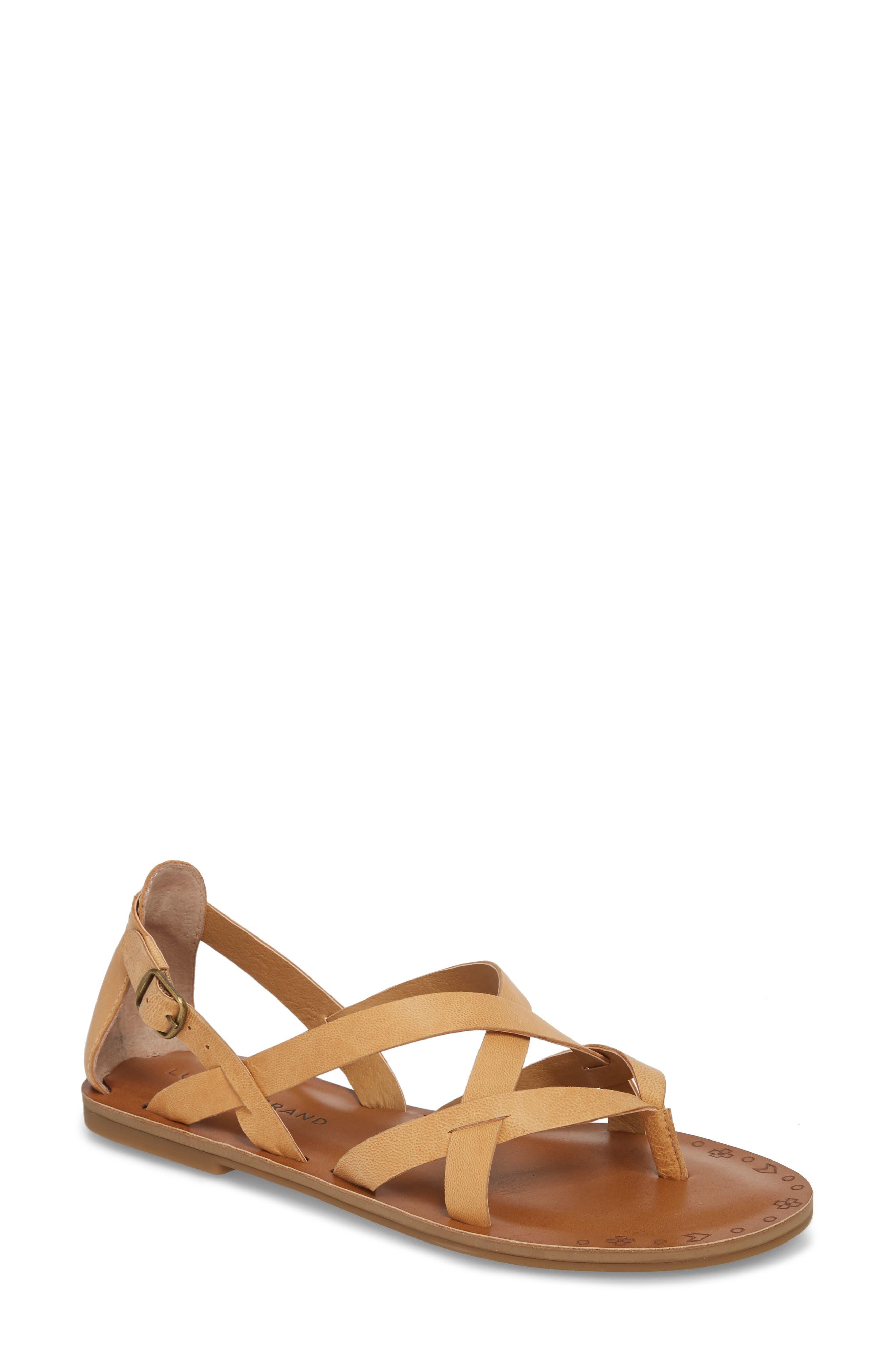 Ainsley Flat Sandal,                         Main,                         color, BUFF LEATHER