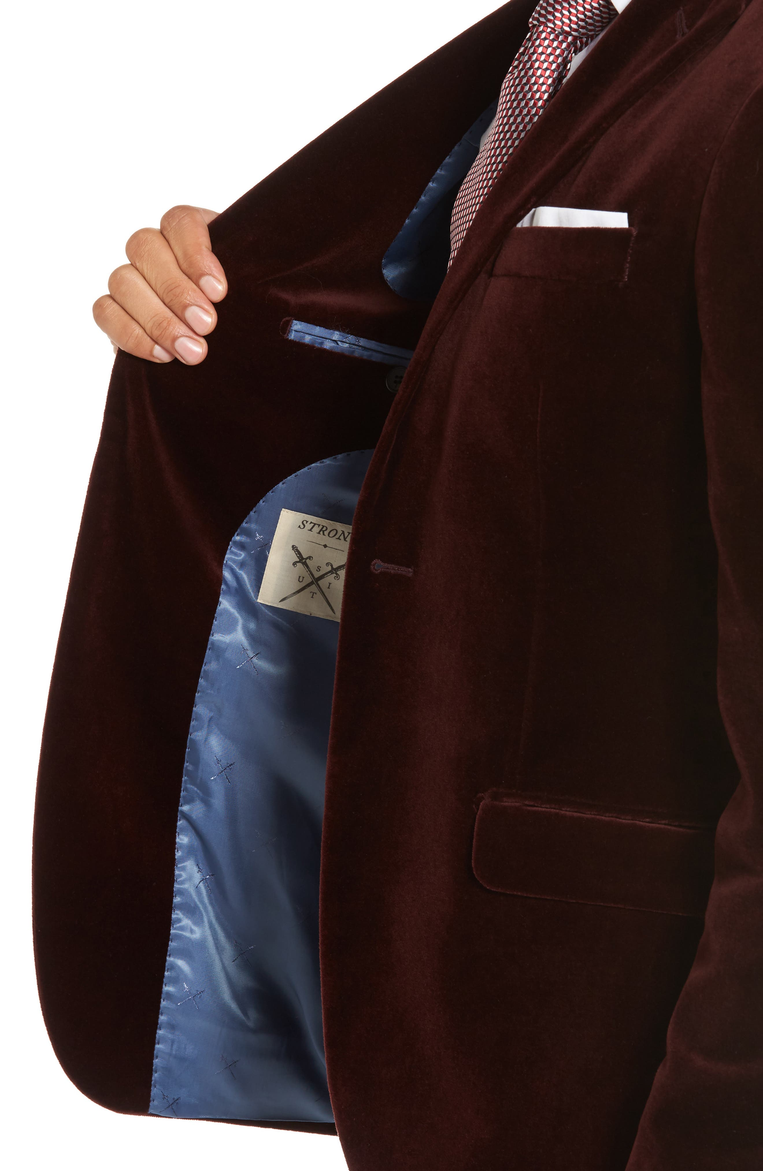 Noble Trim Fit Velvet Blazer,                             Alternate thumbnail 4, color,                             935