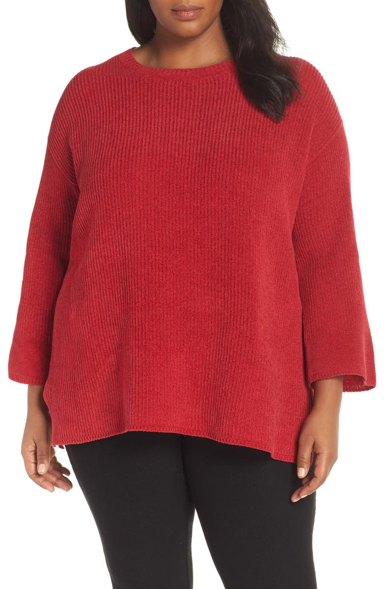 Eileen Fisher Cottons RIBBED ORGANIC COTTON CHENILLE SWEATER