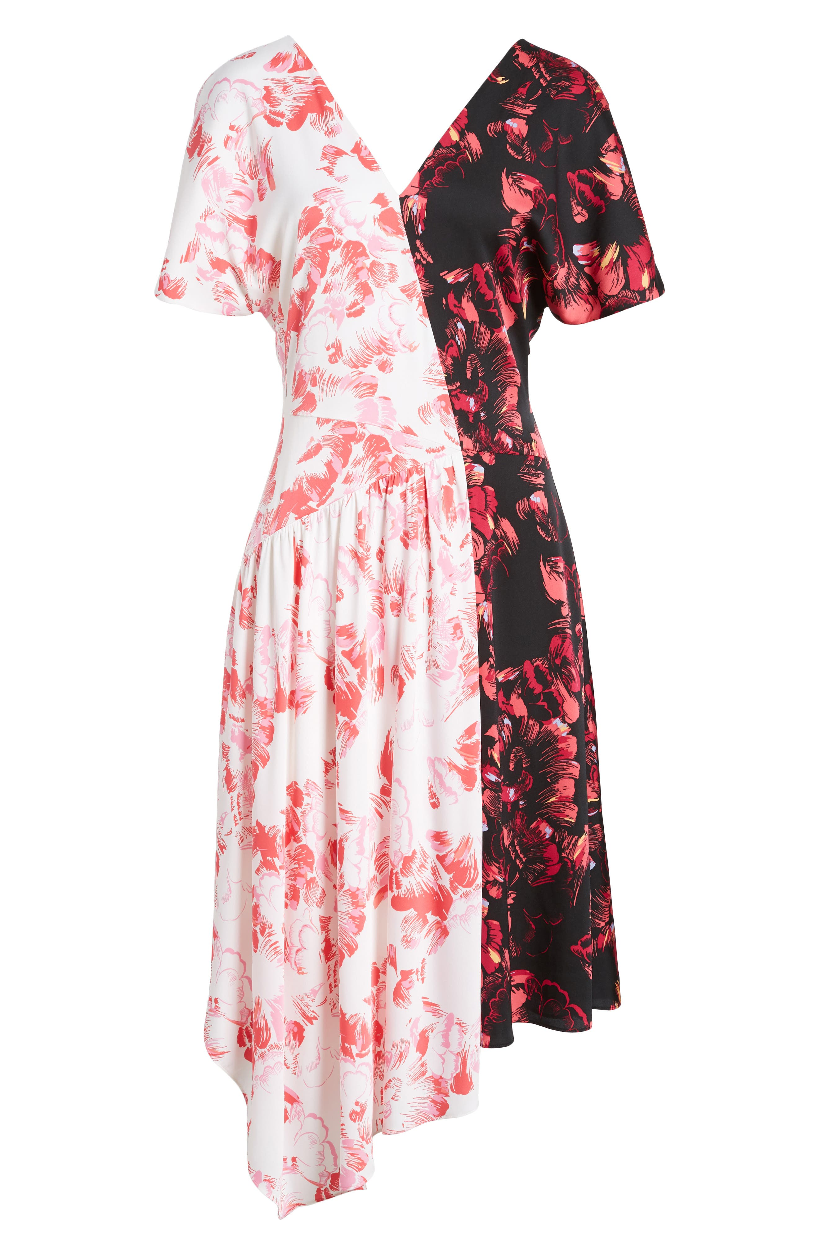 Double Print Floral Stretch Silk Dress,                             Alternate thumbnail 6, color,