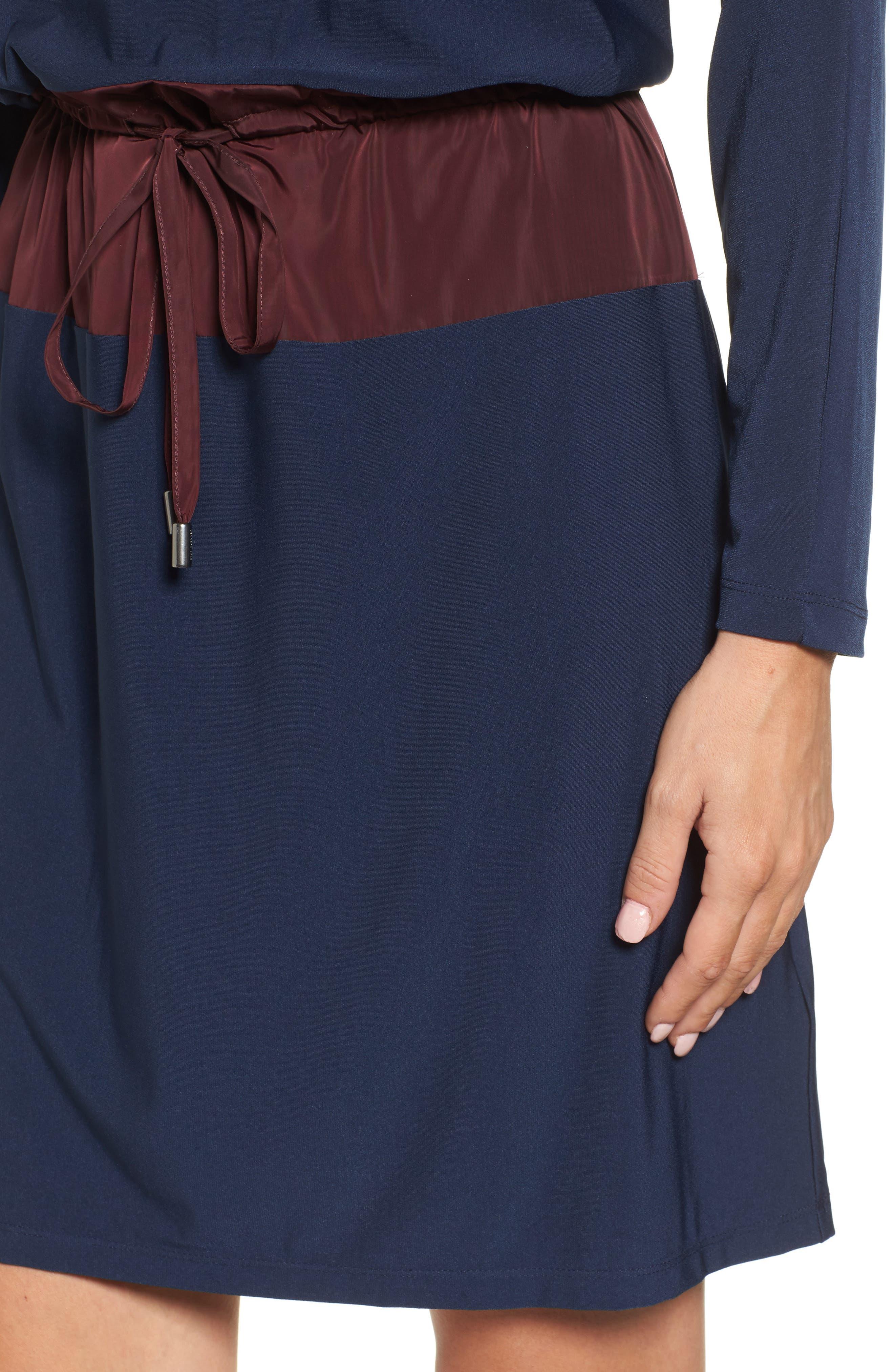 Mixed Media Drawstring Waist Dress,                             Alternate thumbnail 4, color,