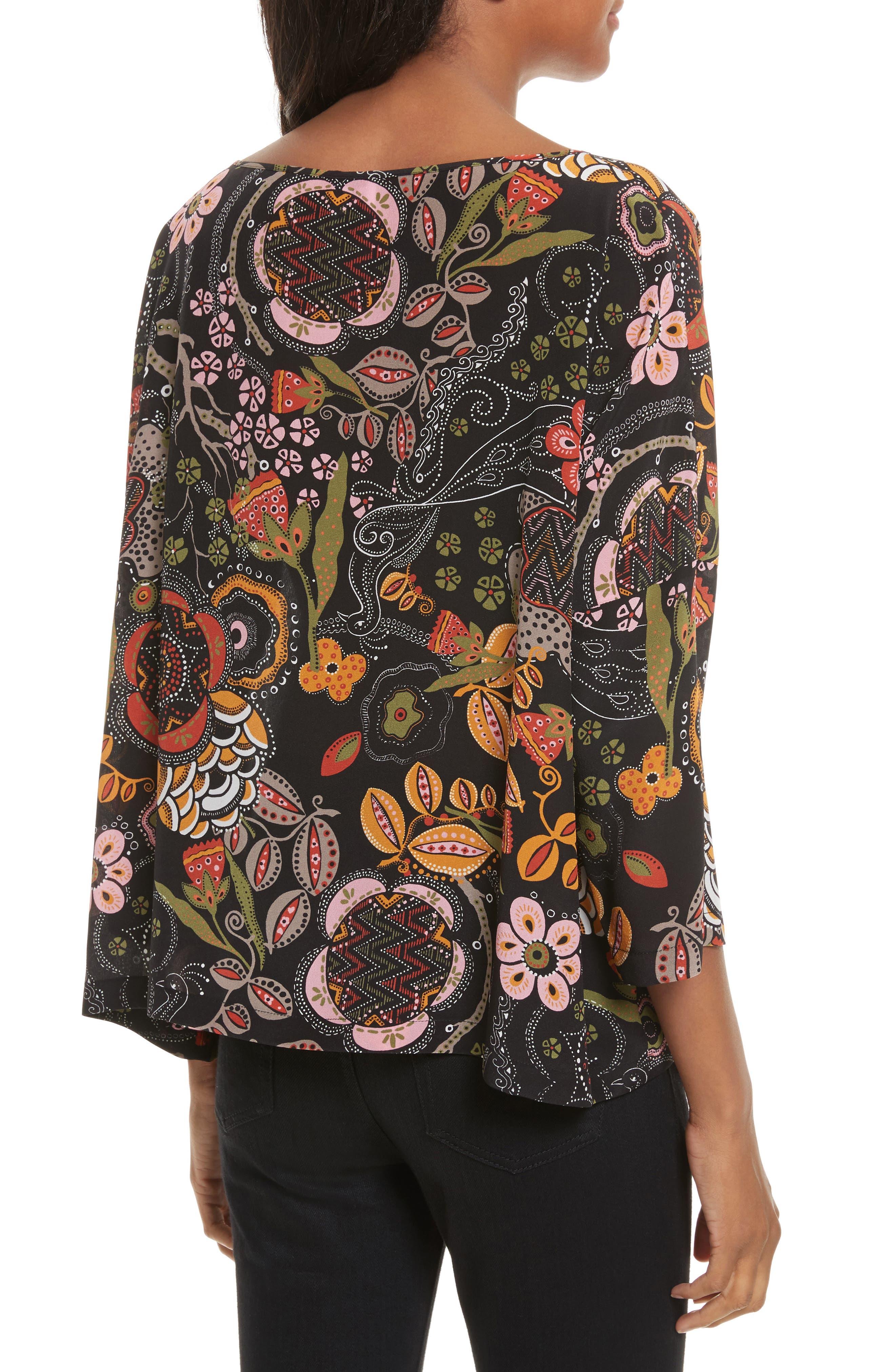 Zigzag Floral Silk Top,                             Alternate thumbnail 2, color,                             001