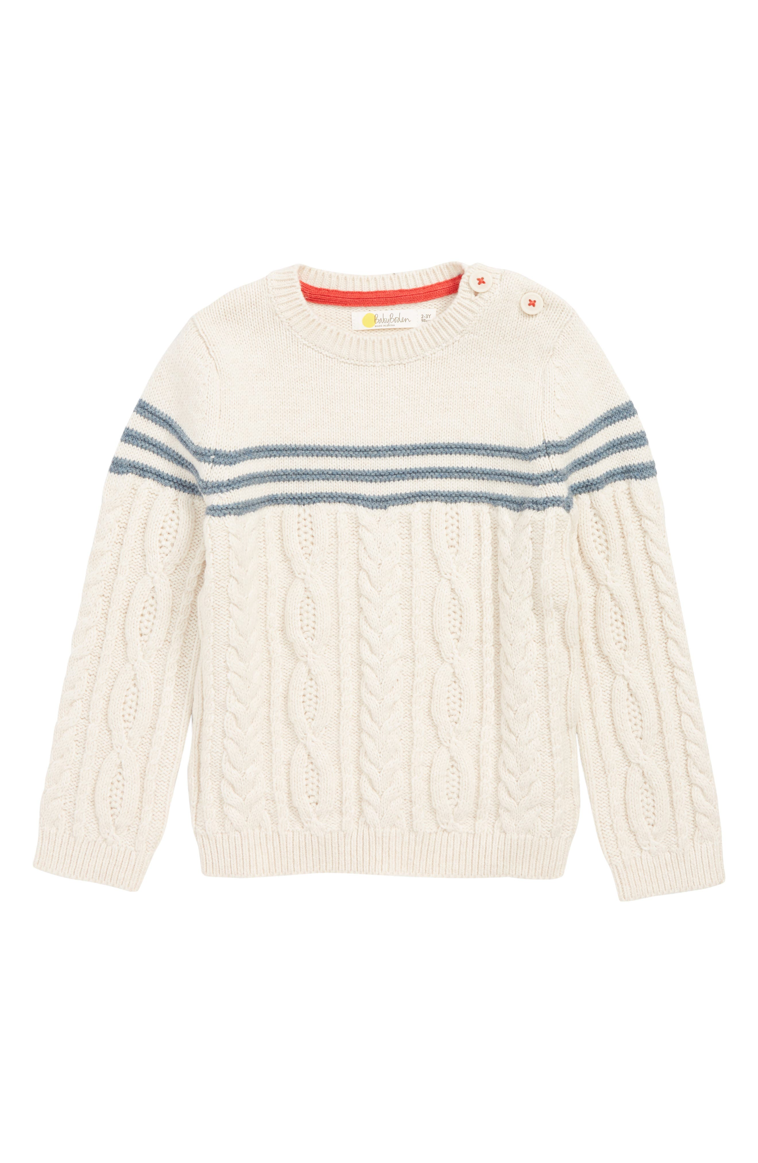 Toddler Boys Mini Boden Fun Cable Knit Sweater Size 34Y  Ivory