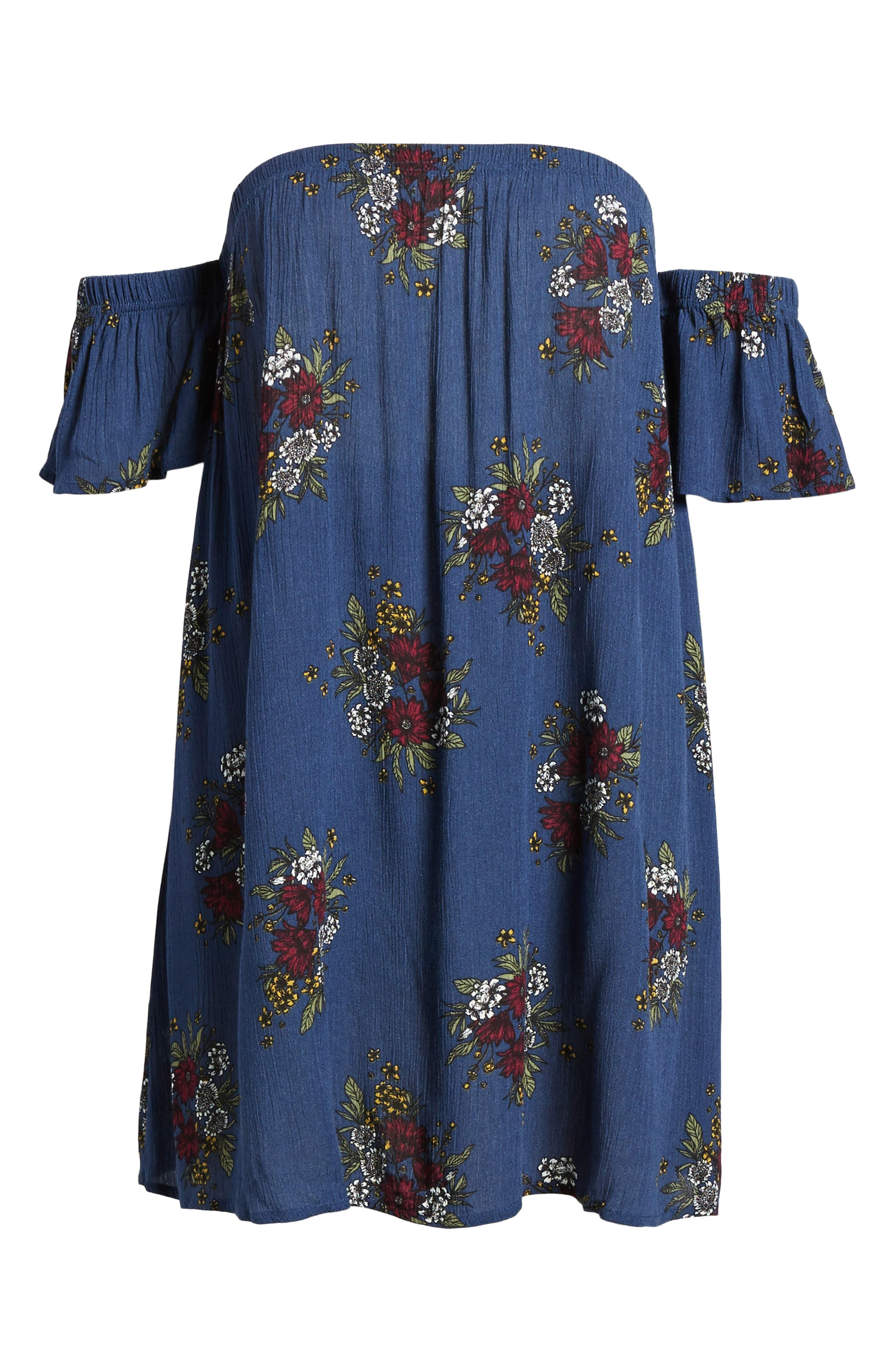Road to Indio Print Off the Shoulder Dress,                             Alternate thumbnail 6, color,                             401