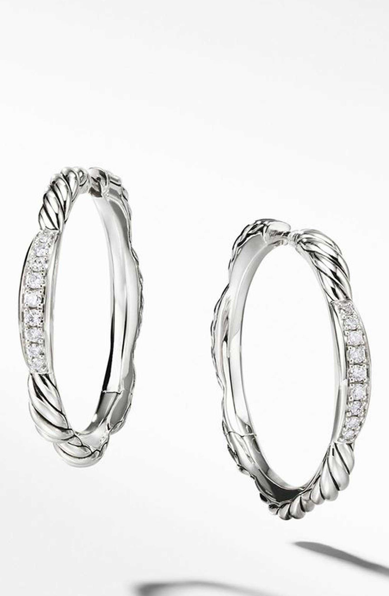 Tides Collection Hoop Earrings with Diamonds,                             Main thumbnail 1, color,                             STERLING SILVER/ DIAMOND