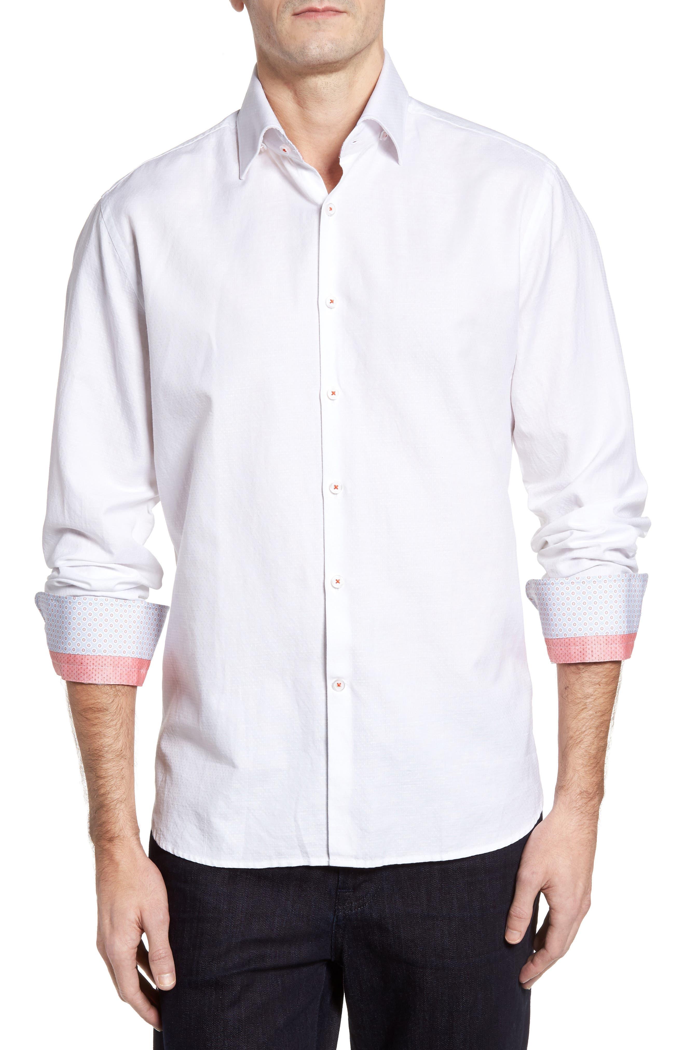 Dobby Cotton & Linen Sport Shirt,                             Main thumbnail 2, color,