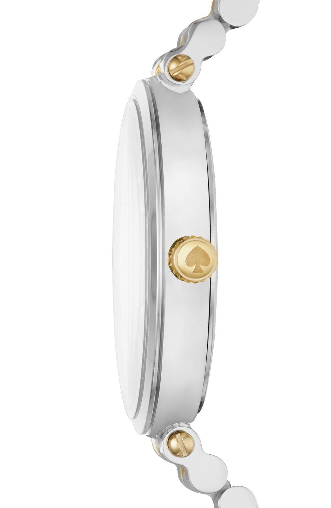 KATE SPADE NEW YORK,                             holland bracelet watch, 34mm,                             Alternate thumbnail 2, color,                             SILVER/ GOLD