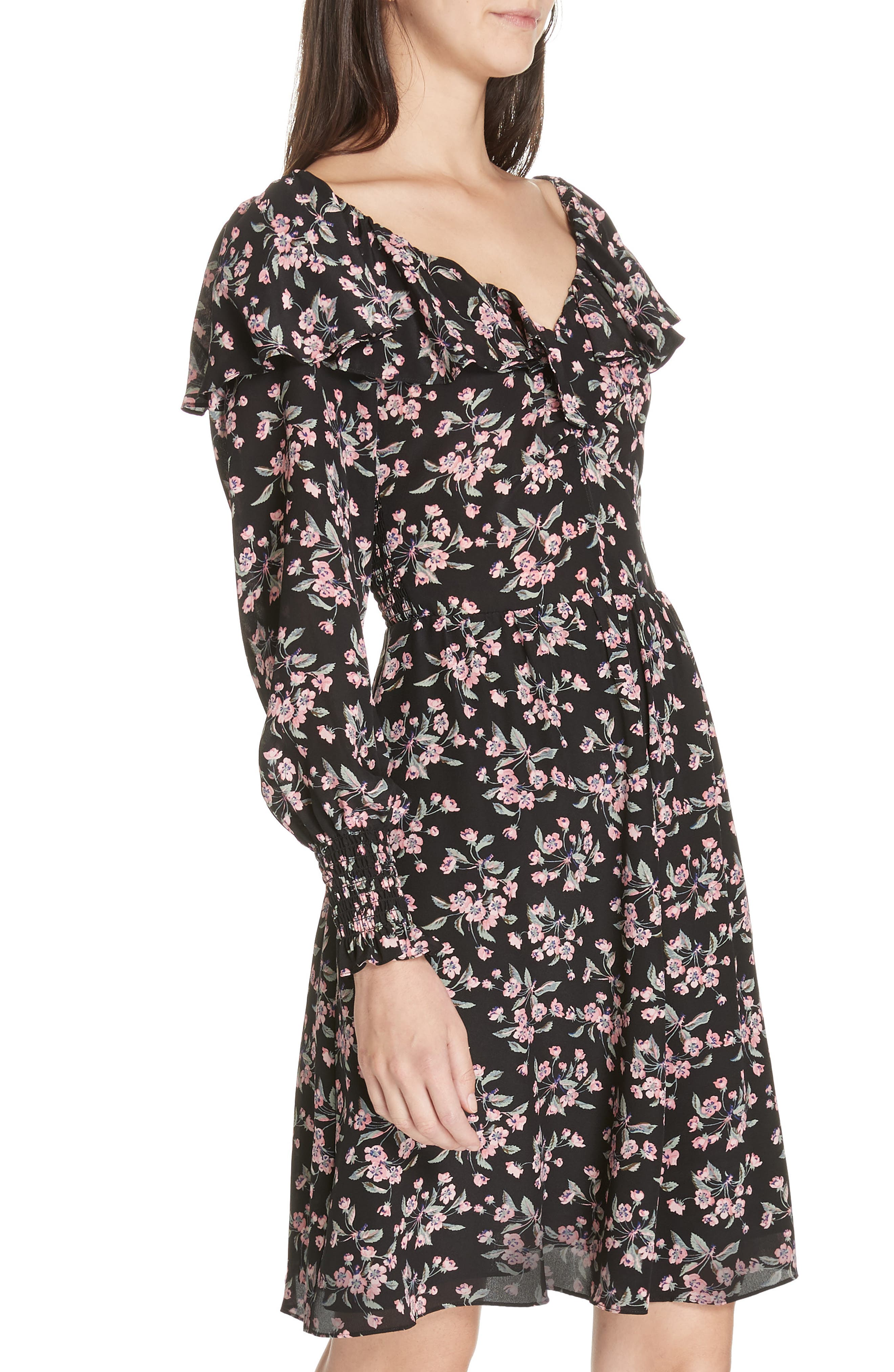 REBECCA TAYLOR,                             Tilda Silk Ruffle Dress,                             Alternate thumbnail 5, color,                             014