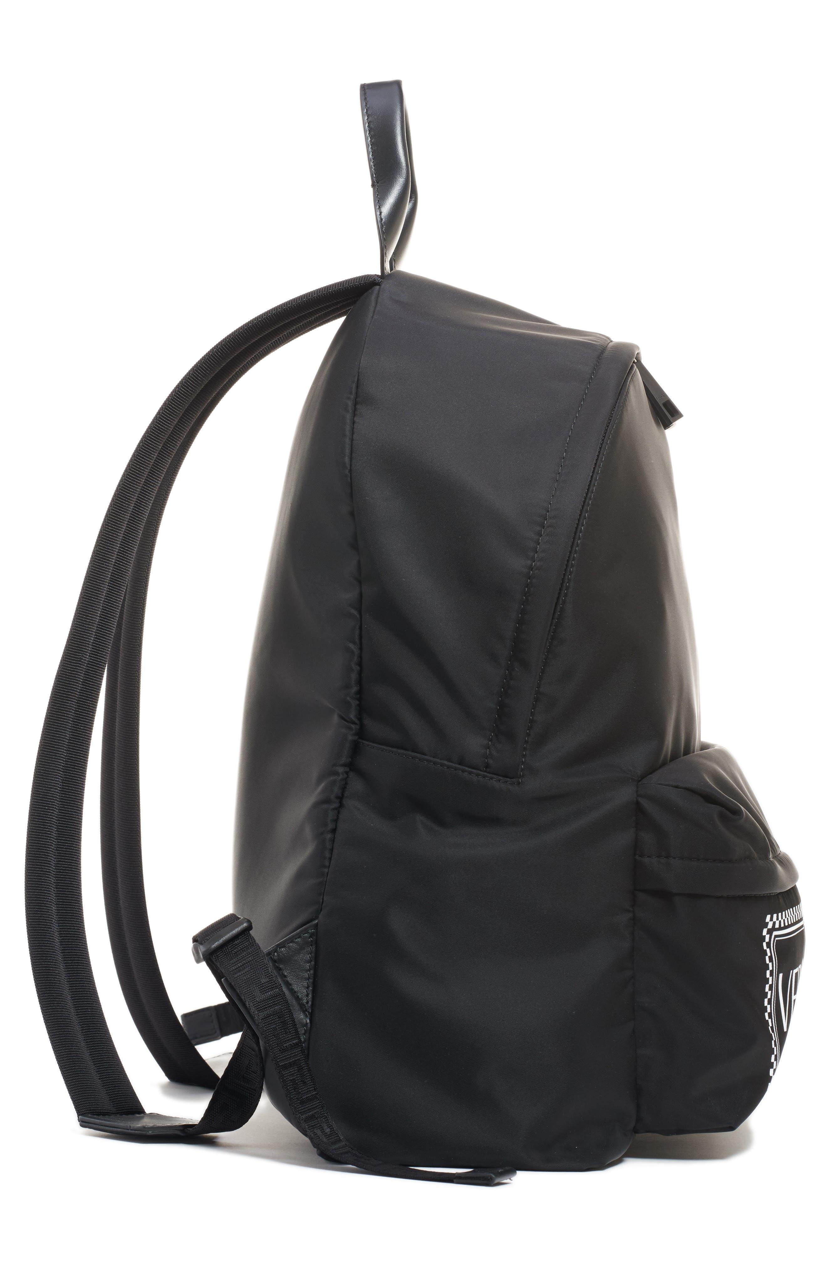 Logo Nylon Backpack,                             Alternate thumbnail 5, color,                             BLACK/ WHITE