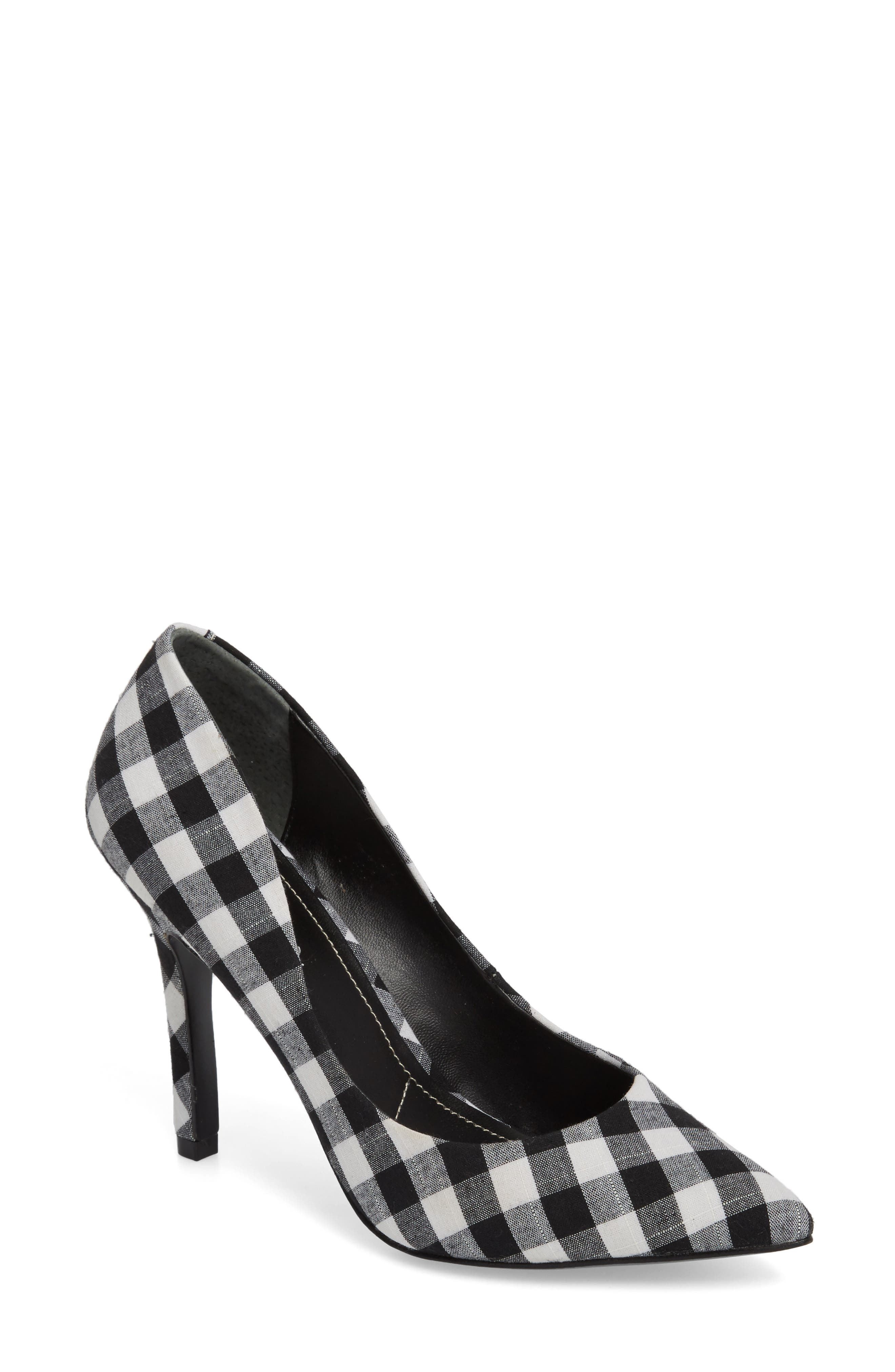 Maxx Pointy Toe Pump,                             Main thumbnail 1, color,                             BLACK/ WHITE GINGHAM FABRIC