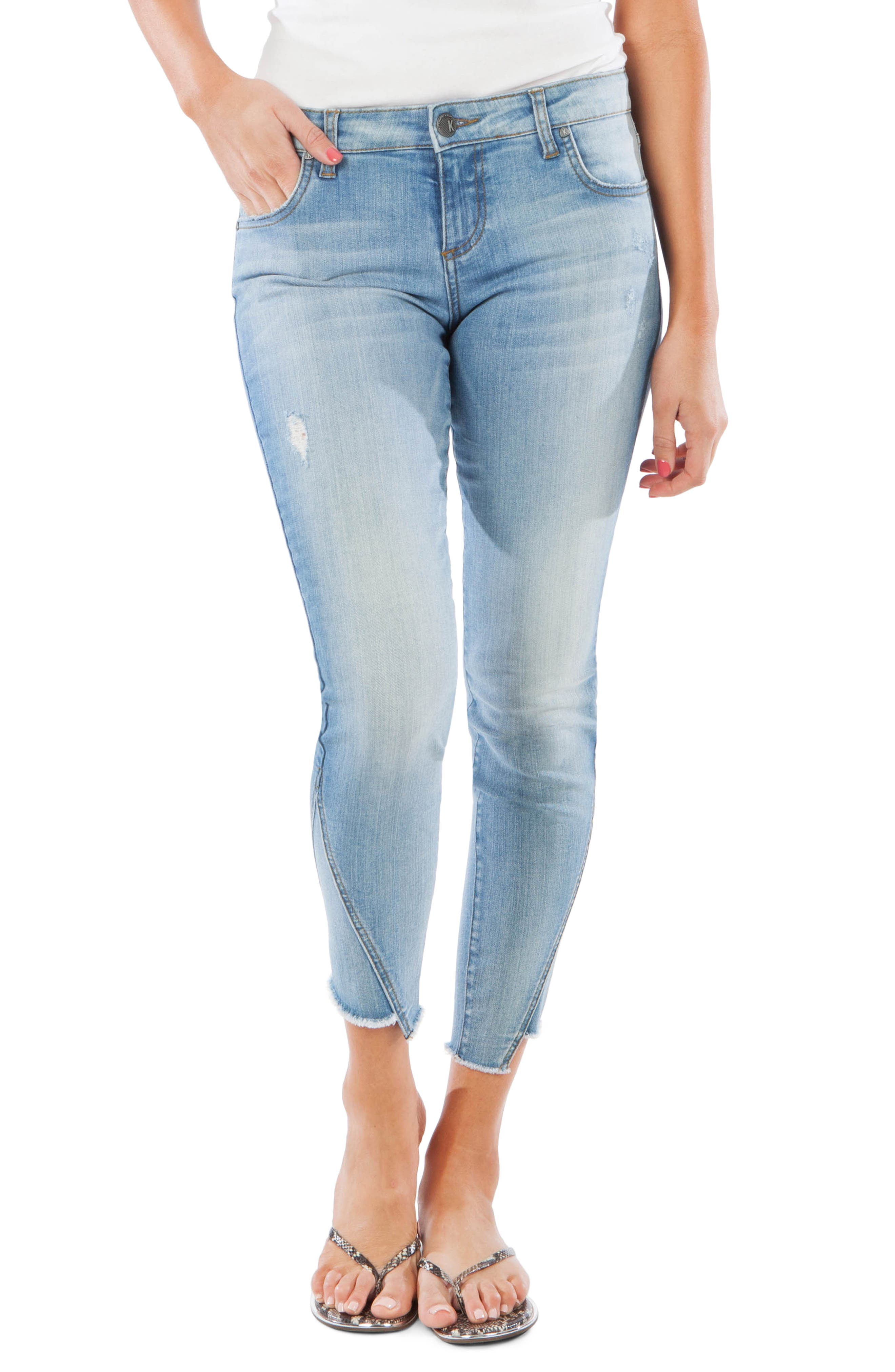 Kut From The Kloth Connie Step Hem Ankle Skinny Jeans, Blue