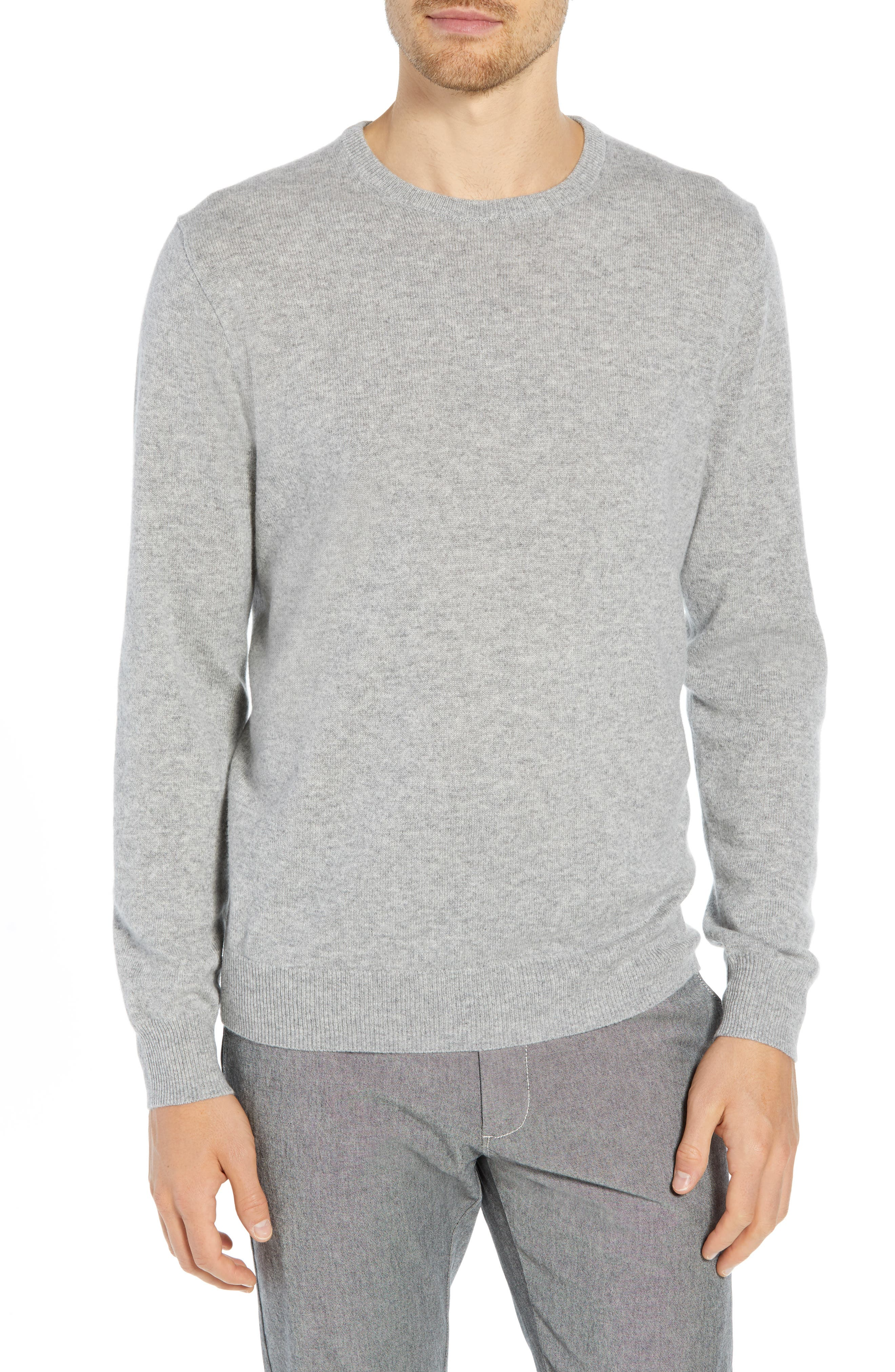 Everyday Cashmere Regular Fit Crewneck Sweater,                             Main thumbnail 1, color,                             HEATHER GREY