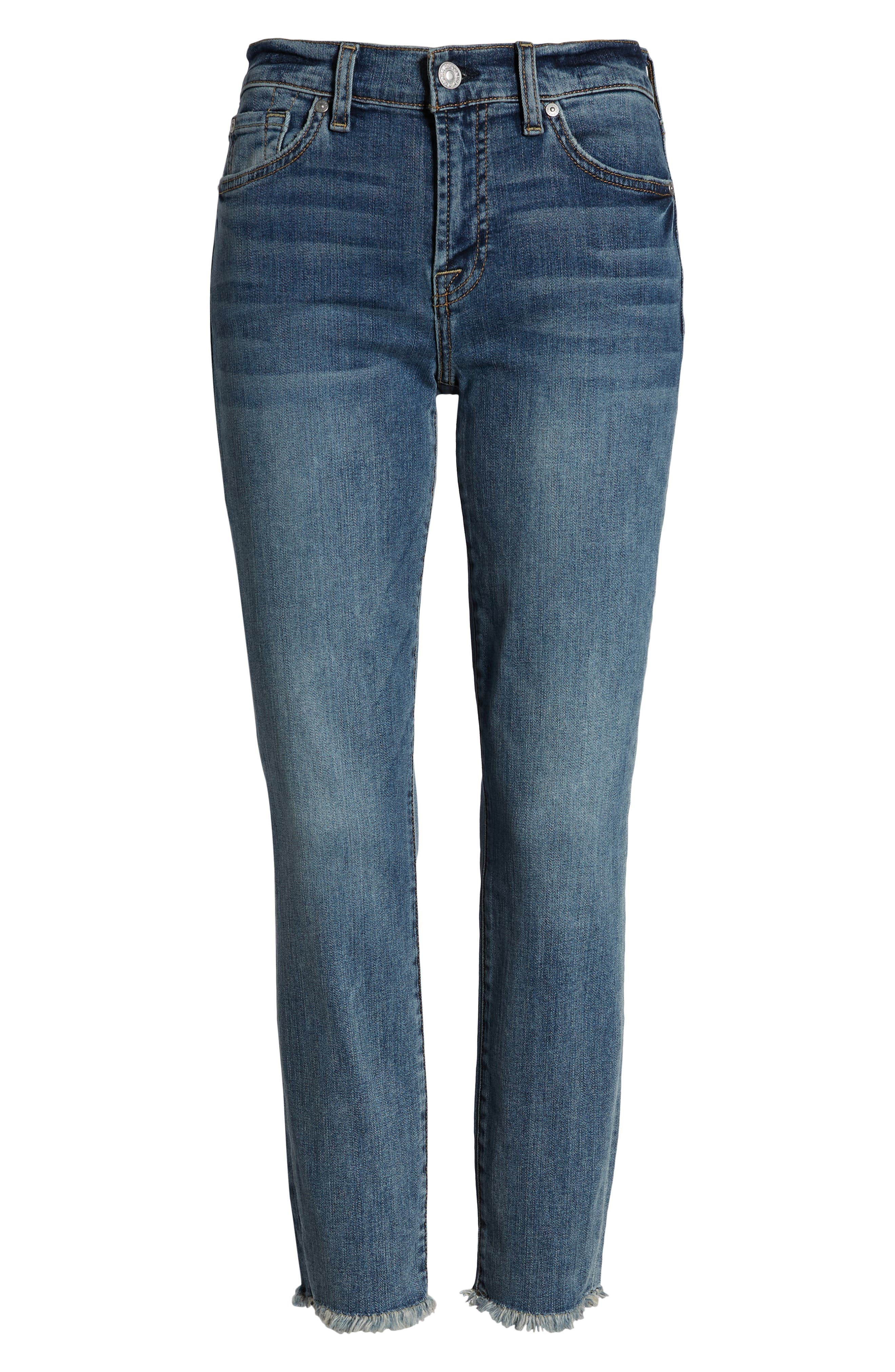 7 FOR ALL MANKIND<SUP>®</SUP>,                             b(air) Roxanne Frayed Ankle Slim Jeans,                             Alternate thumbnail 7, color,                             402