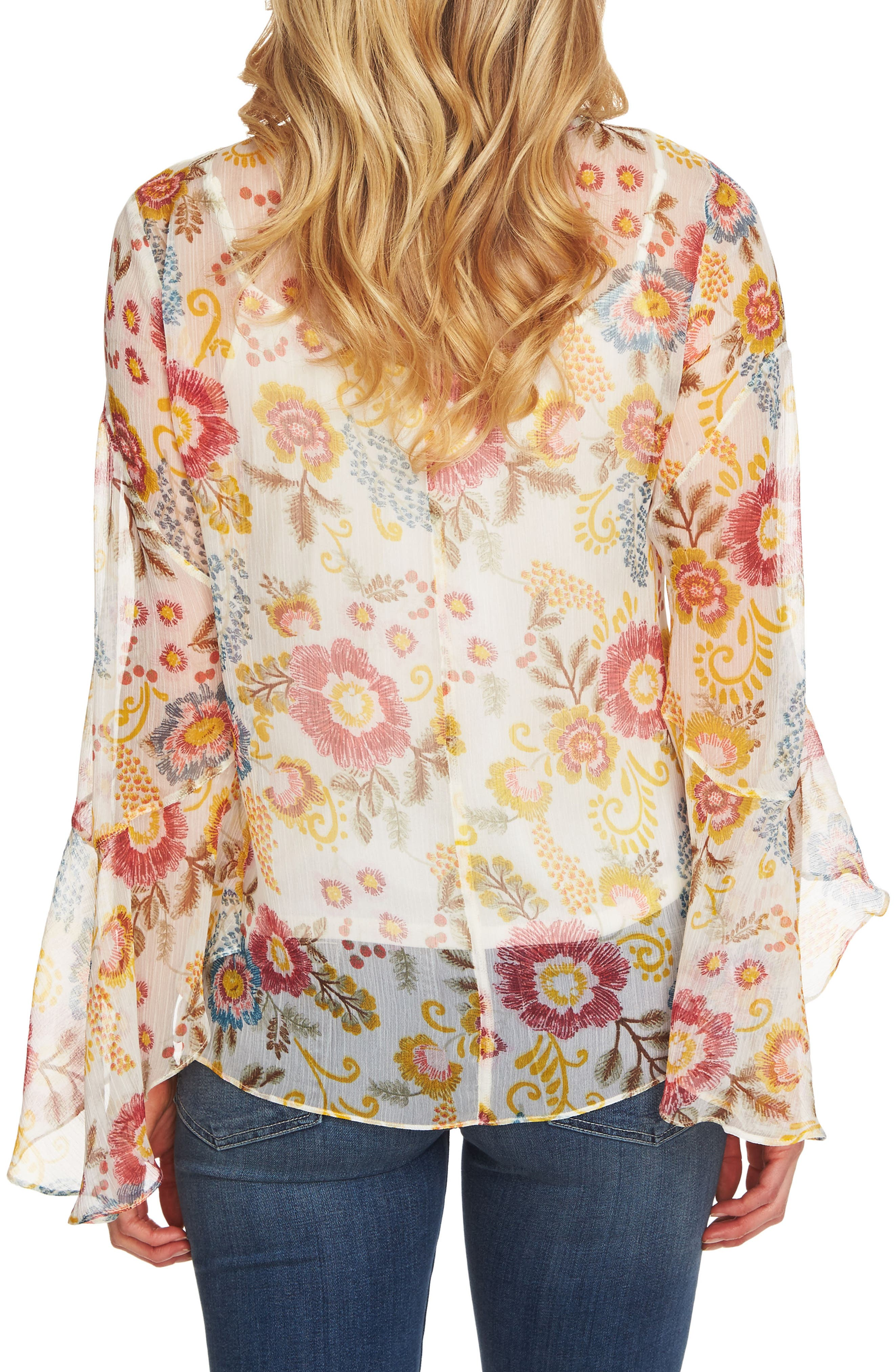Flared Sleeve Floral Top,                             Alternate thumbnail 6, color,