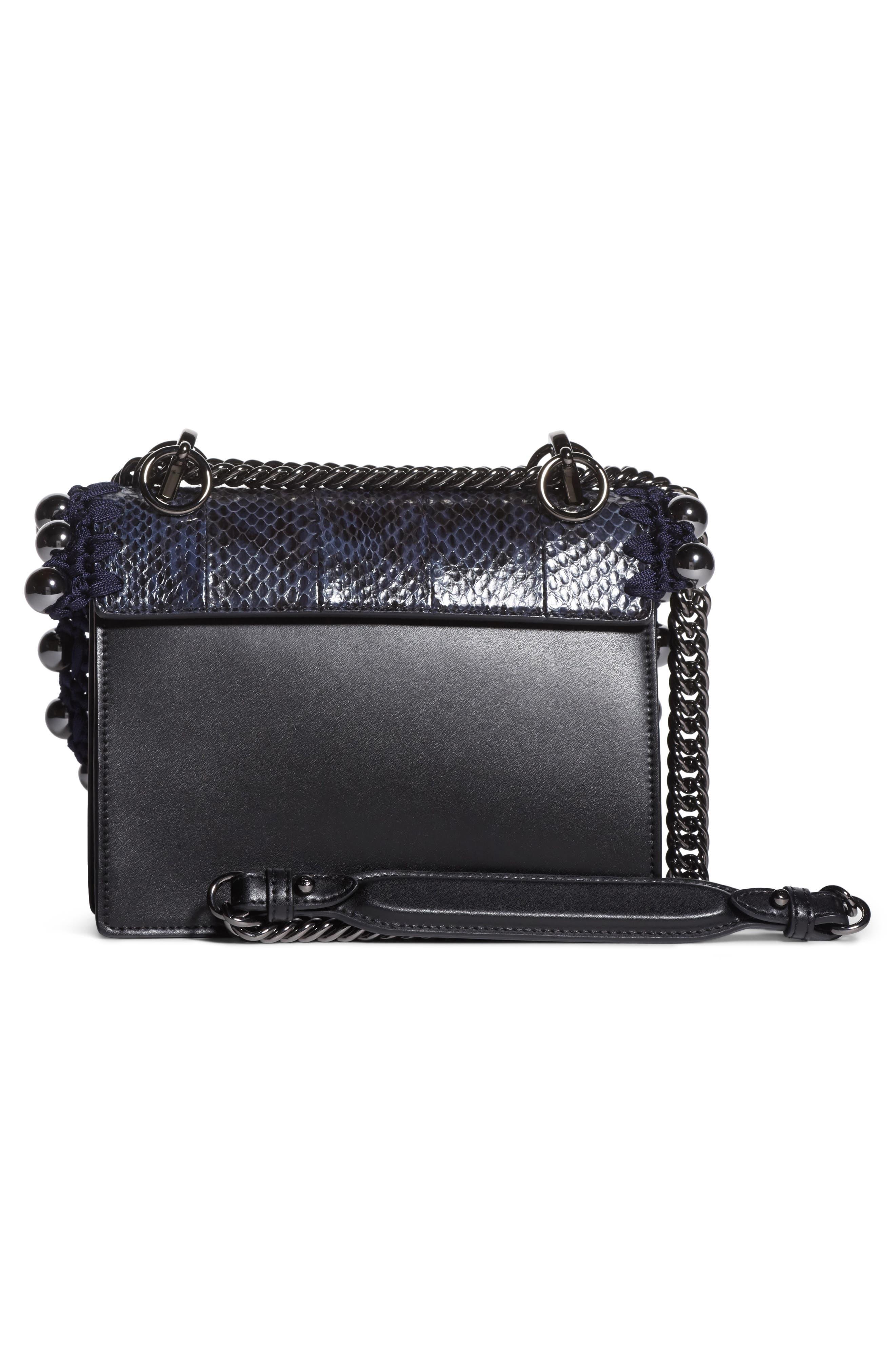 Small Kan I Genuine Snakeskin & Leather Beaded Shoulder Bag,                             Alternate thumbnail 2, color,                             IRIS/ NERO