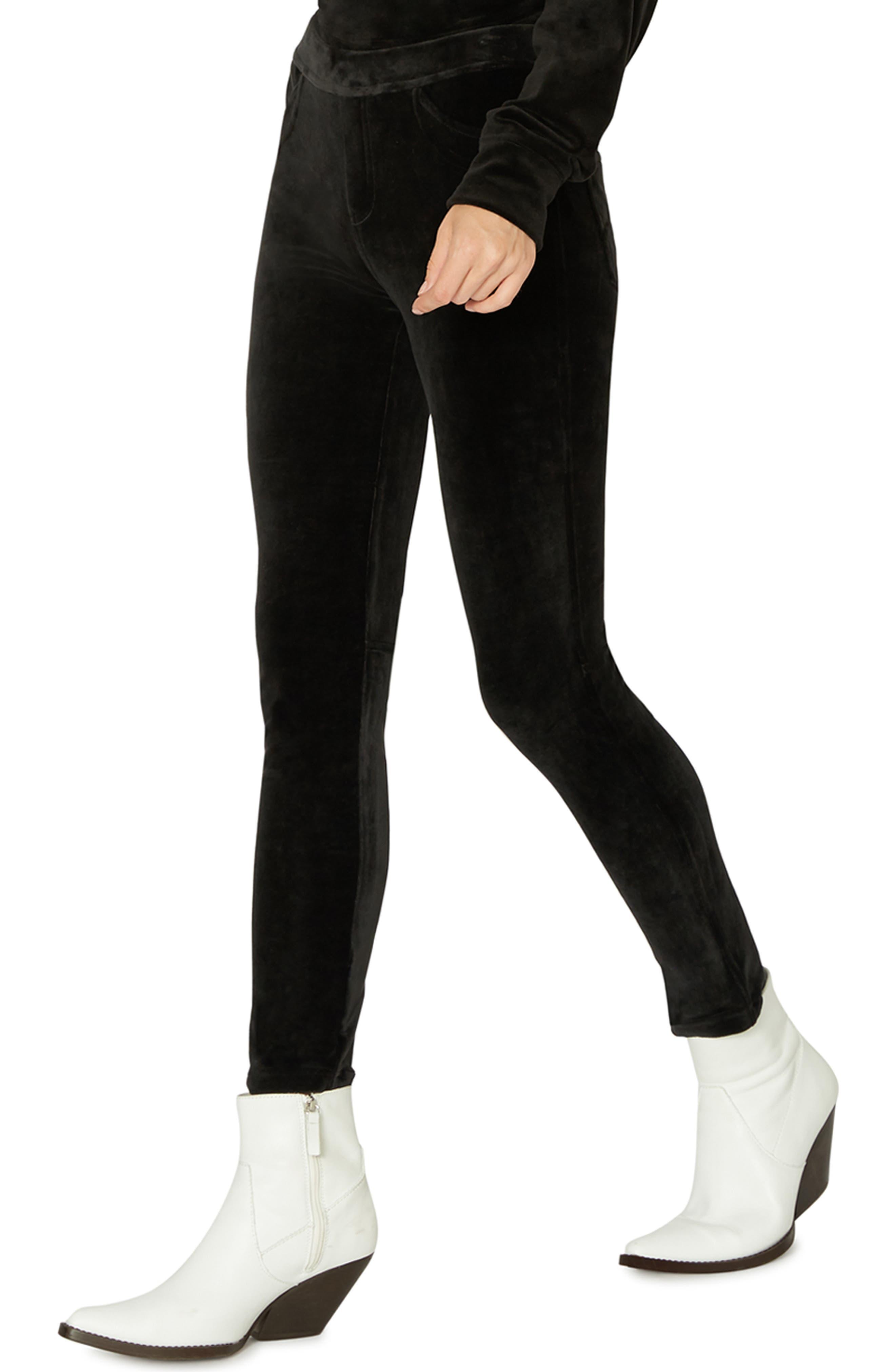 SANCTUARY,                             Velour Grease Leggings,                             Alternate thumbnail 3, color,                             001