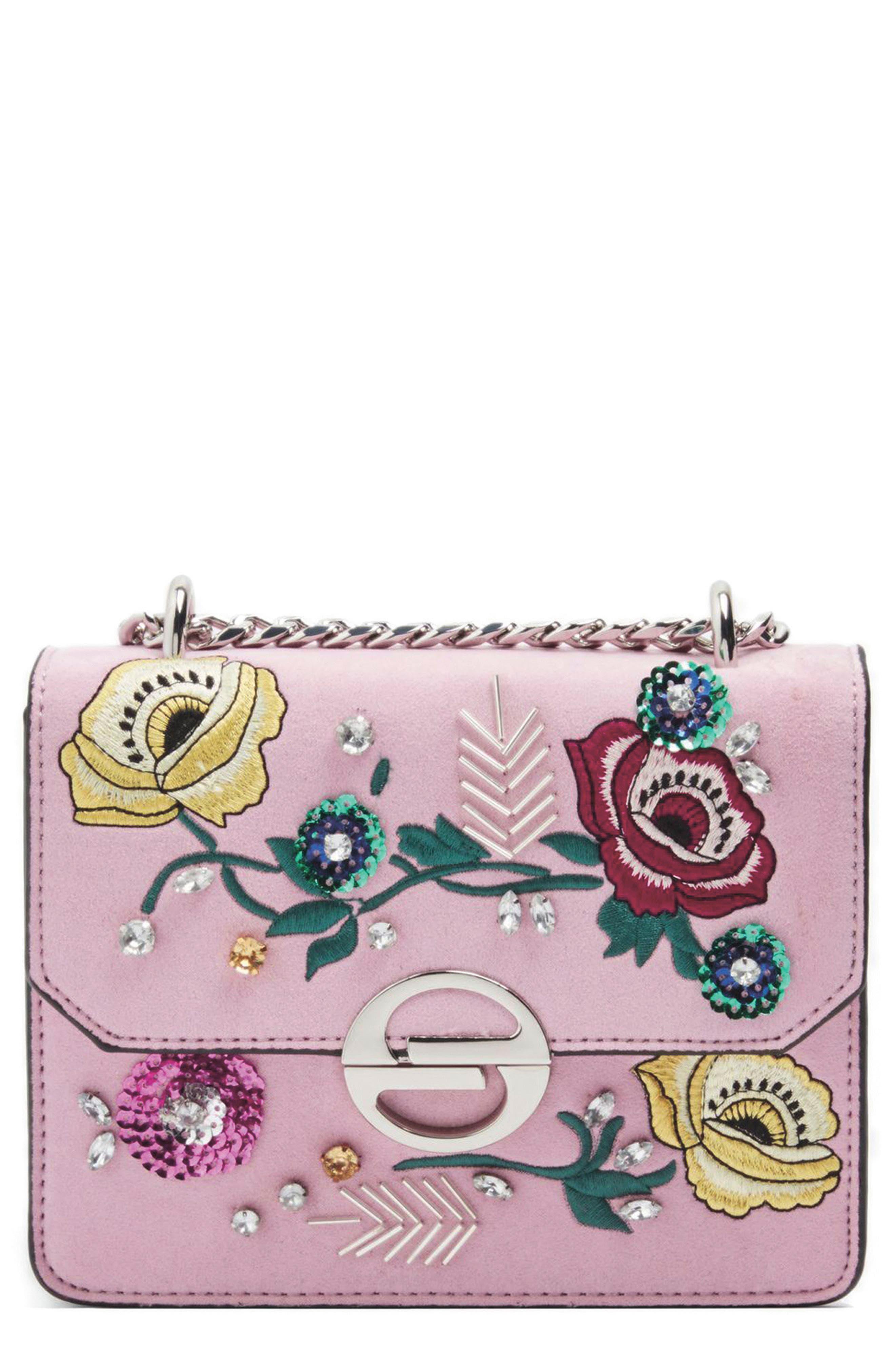 Embellished Faux Suede Crossbody Bag,                             Alternate thumbnail 5, color,                             650
