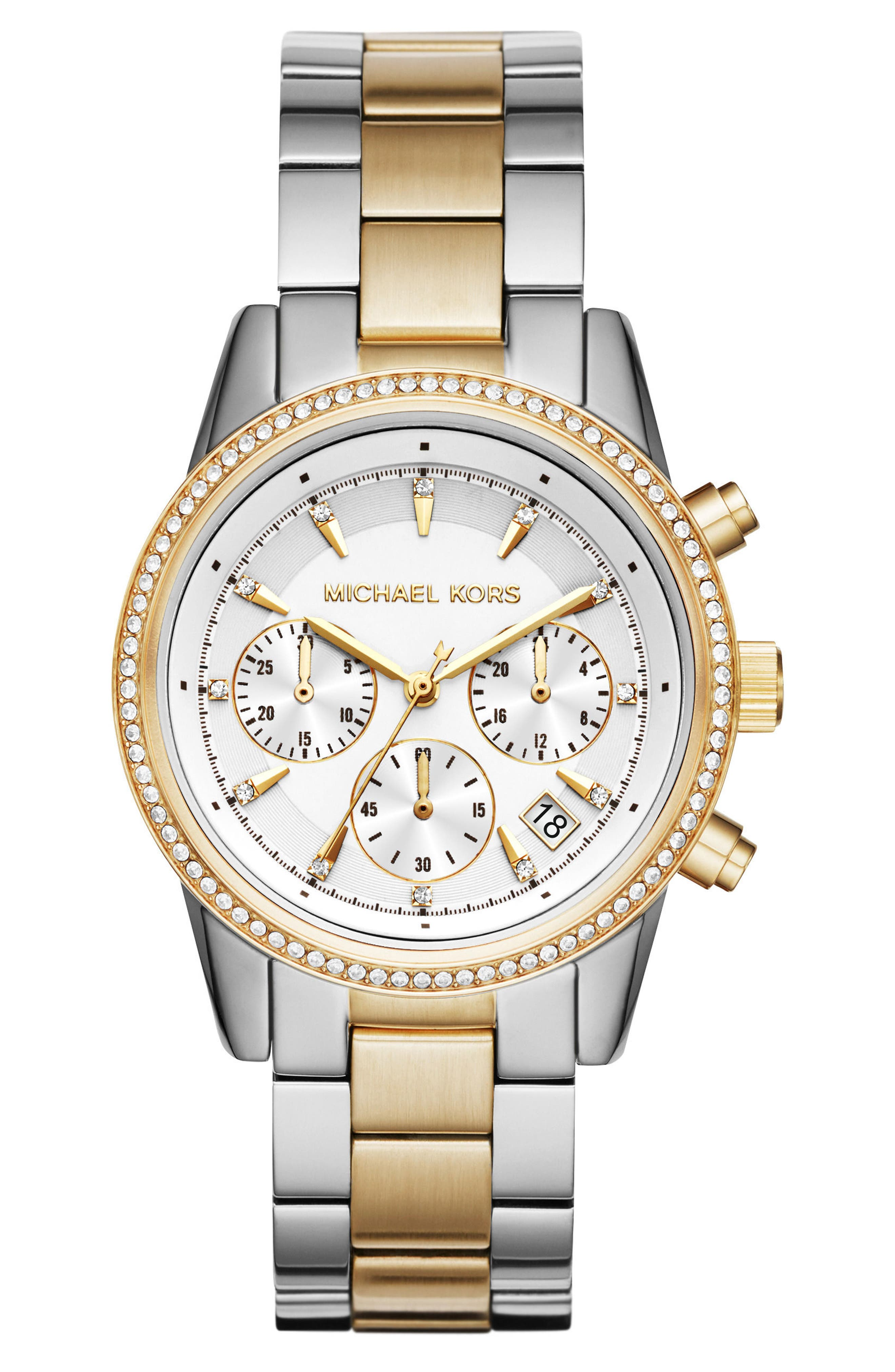 Ritz Chronograph Bracelet Watch, 37mm,                         Main,                         color, SILVER/ WHITE/ GOLD